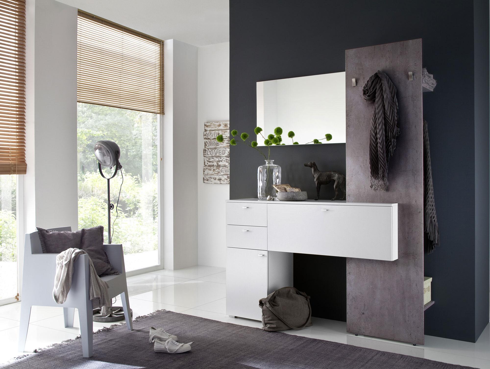 Zarah iii garderobenkombi wei beton for Garderobe komplett programme