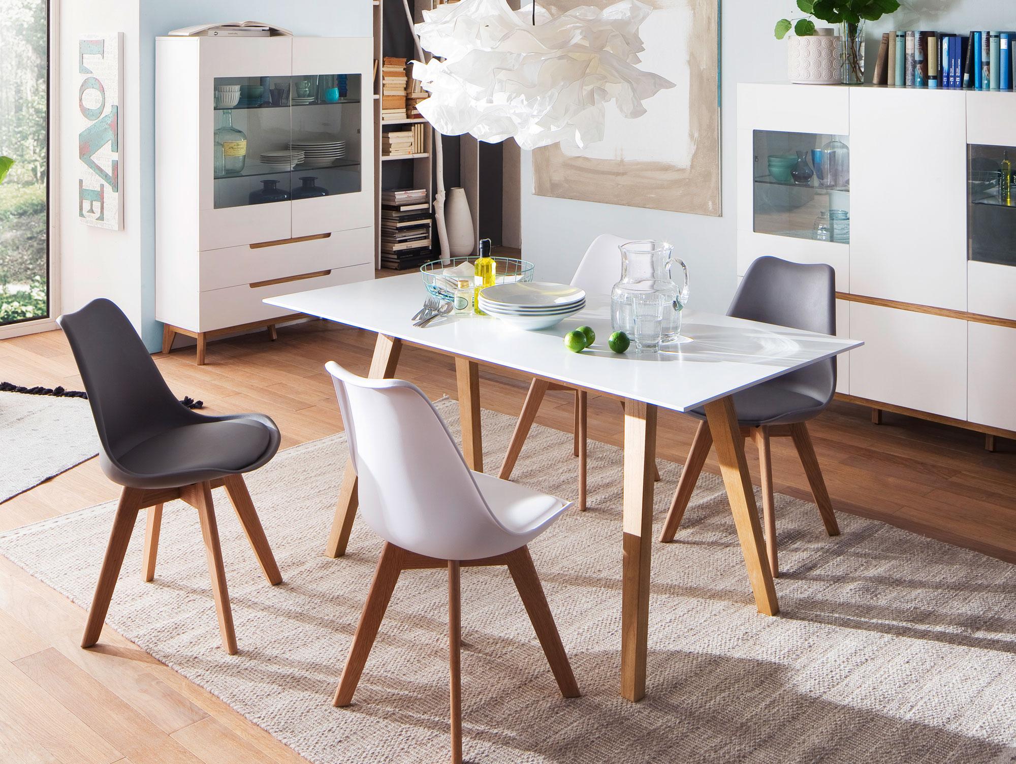 cava esstisch matt weiss eiche 140 x 80 cm. Black Bedroom Furniture Sets. Home Design Ideas