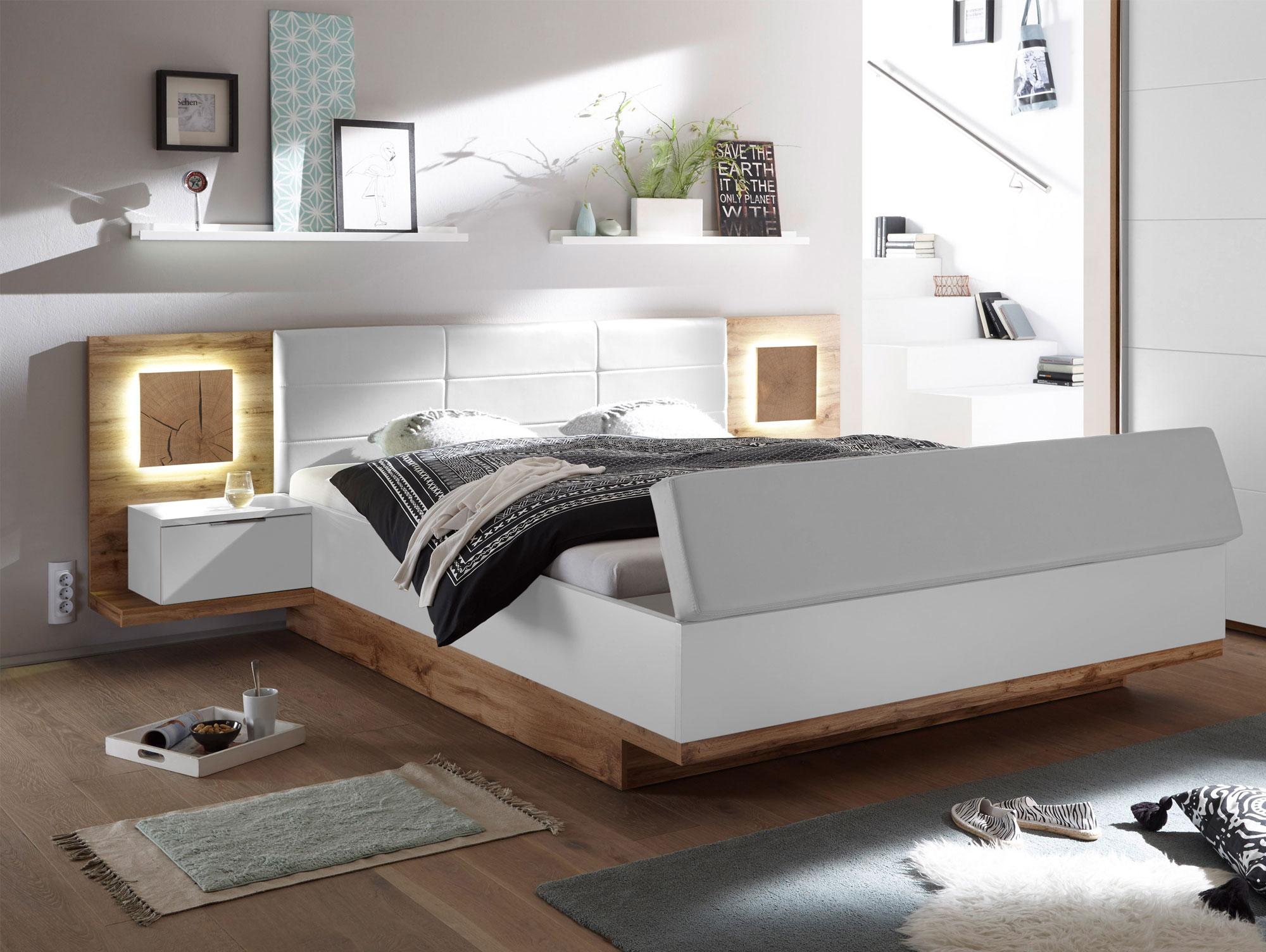 cameron xl bettanlage inkl nakos und sitztruhe wildeiche weiss. Black Bedroom Furniture Sets. Home Design Ideas