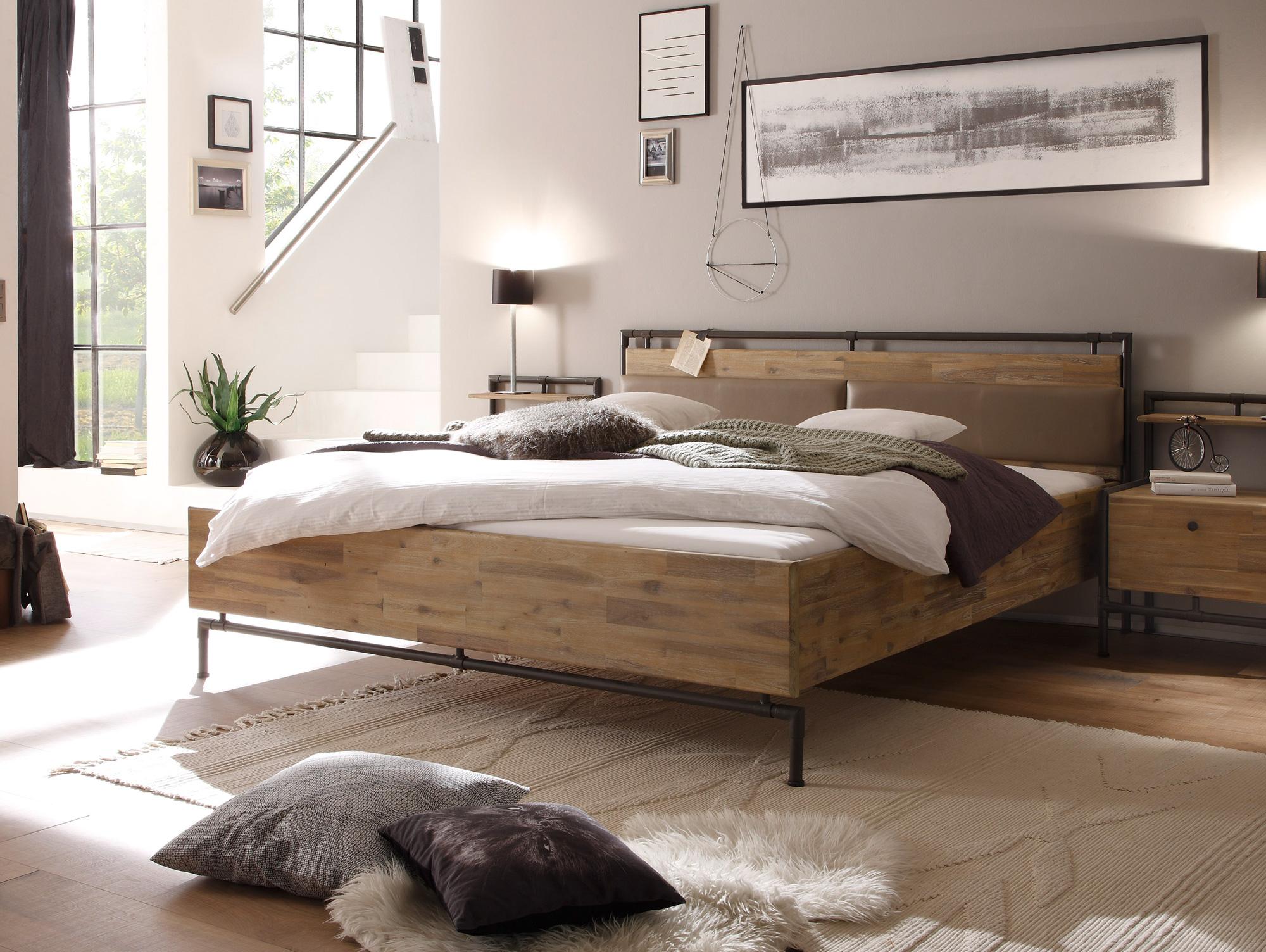 terry doppelbett 180x200 cm akazie geb rstet. Black Bedroom Furniture Sets. Home Design Ideas
