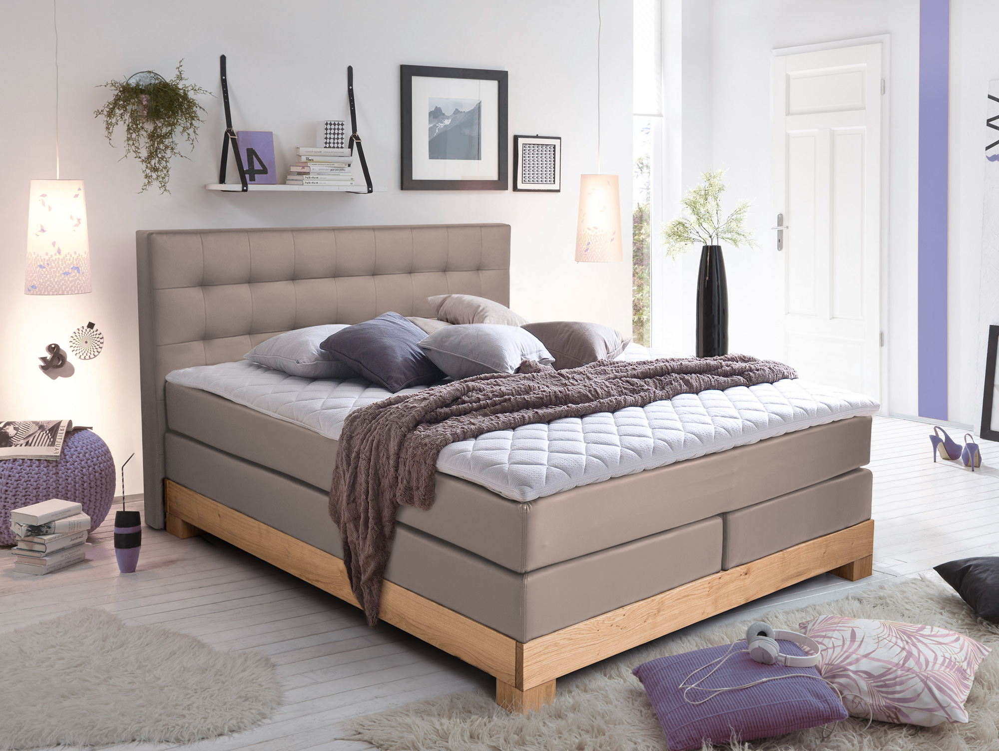 arche boxspringbett mit massivholzrahmen 160 x 200 cm muddy buche h rtegrad 2. Black Bedroom Furniture Sets. Home Design Ideas