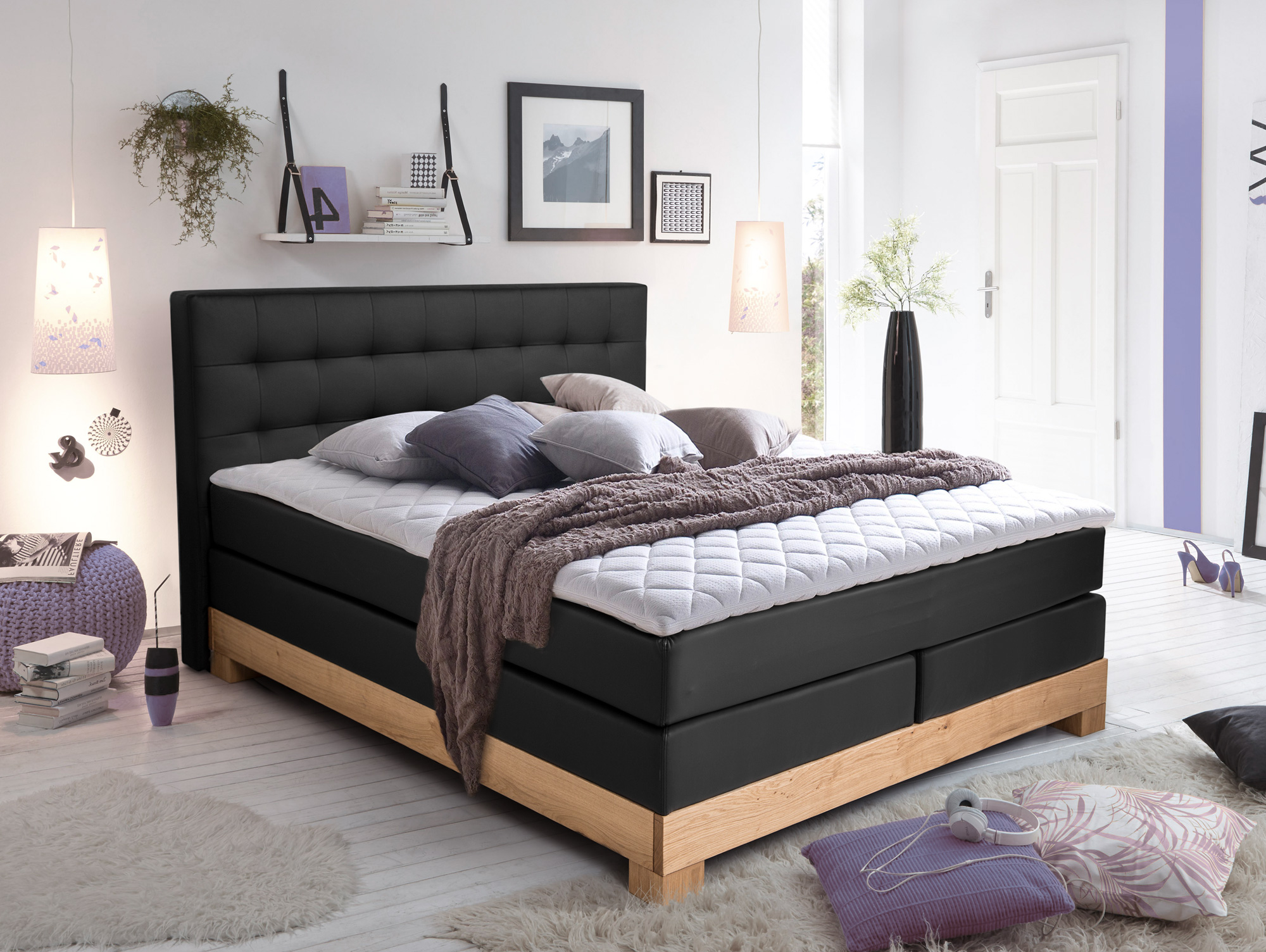 arche boxspringbett mit massivholzrahmen 200 x 200 cm schwarz eiche h rtegrad 2. Black Bedroom Furniture Sets. Home Design Ideas