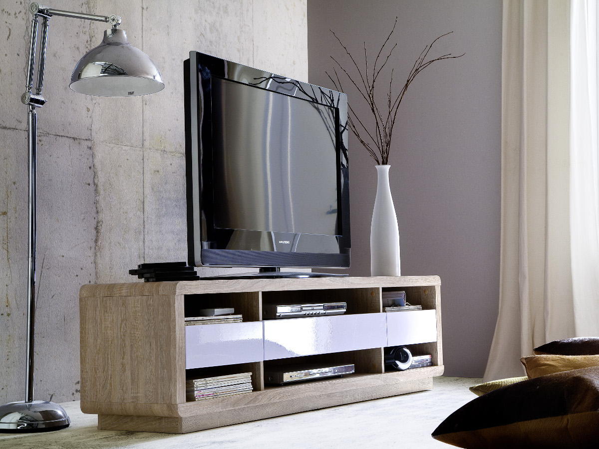 arry tv lowboard eiche s gerau weiss. Black Bedroom Furniture Sets. Home Design Ideas