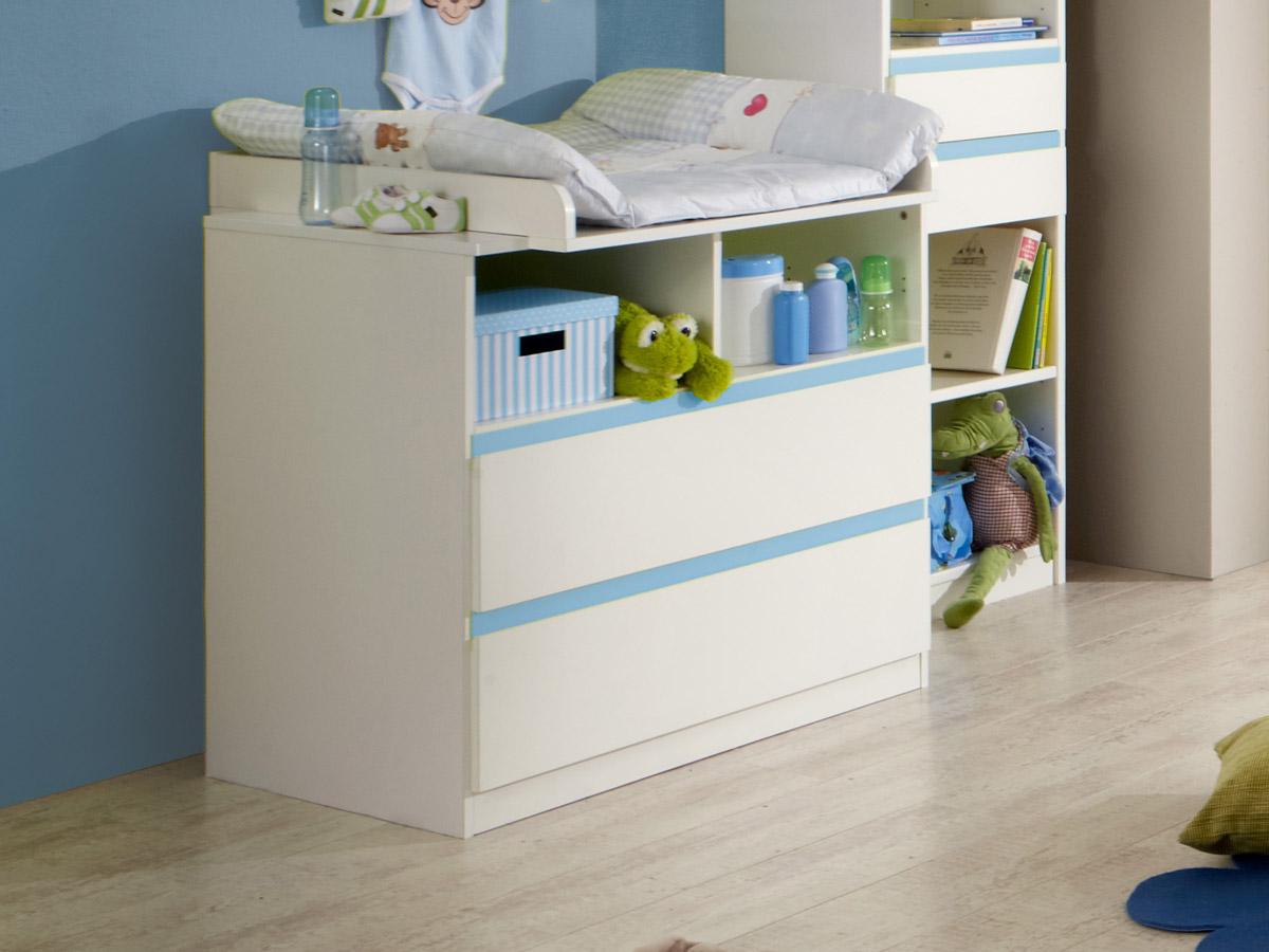 becca wickelkommode inkl wickelaufsatz weiss iceblau. Black Bedroom Furniture Sets. Home Design Ideas