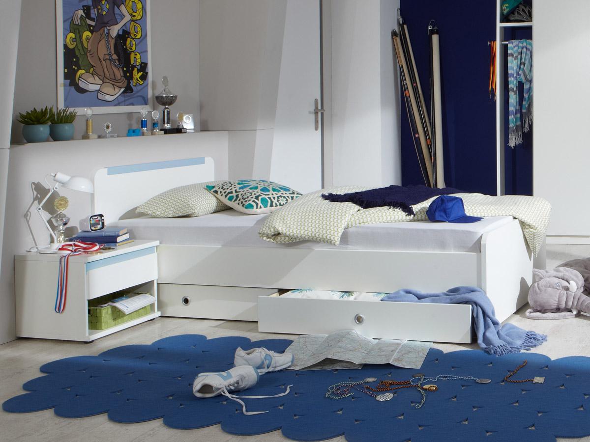 becca jugendbett 90x200 cm weiss iceblau. Black Bedroom Furniture Sets. Home Design Ideas
