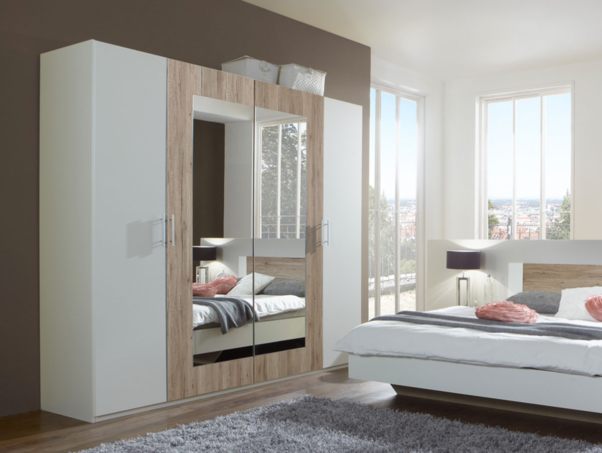 flores i komplett schlafzimmer 160 x 200 cm weiss sanremo eiche. Black Bedroom Furniture Sets. Home Design Ideas
