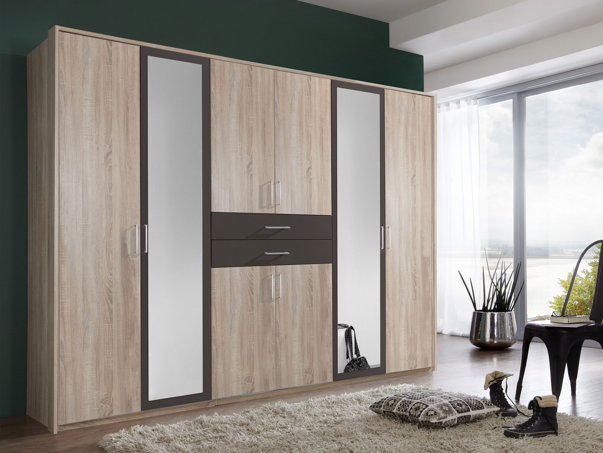 dustin kleiderschrank mit spiegelt r 270 cm eiche s gerau nachbildung mdf lavafarbig. Black Bedroom Furniture Sets. Home Design Ideas