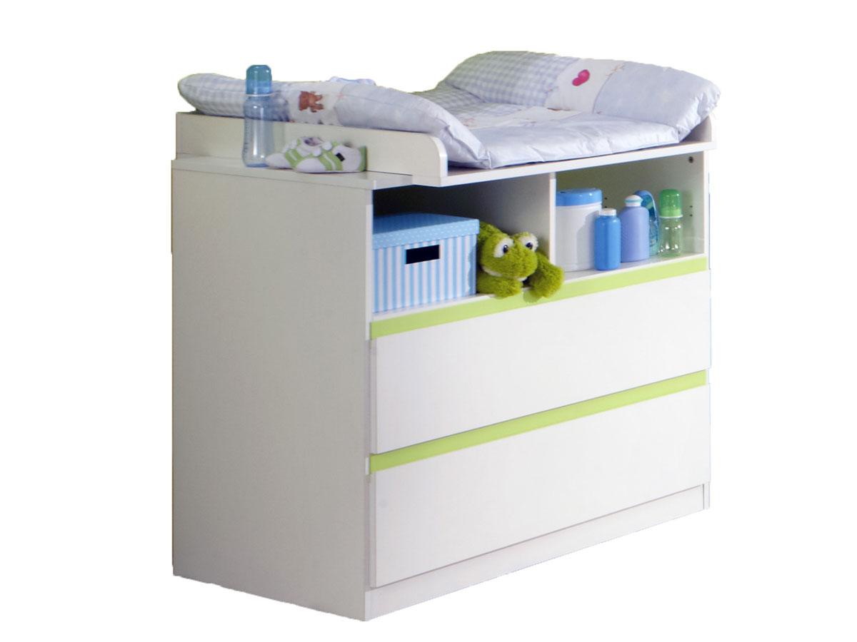 becca wickelkommode inkl wickelaufsatz weiss apfegr n. Black Bedroom Furniture Sets. Home Design Ideas