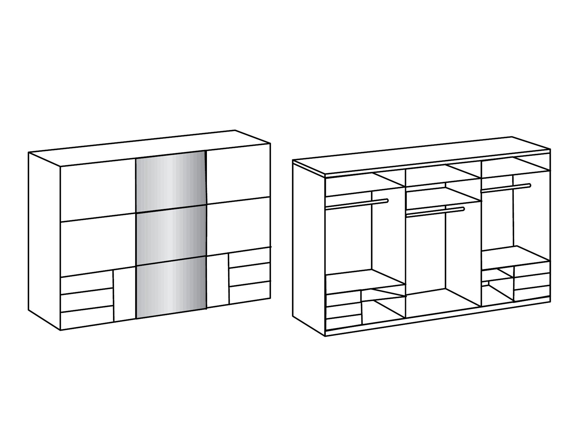 lakota schwebet renschrank lavagrau plankeneiche 300 cm 236 cm inkl spiegel. Black Bedroom Furniture Sets. Home Design Ideas