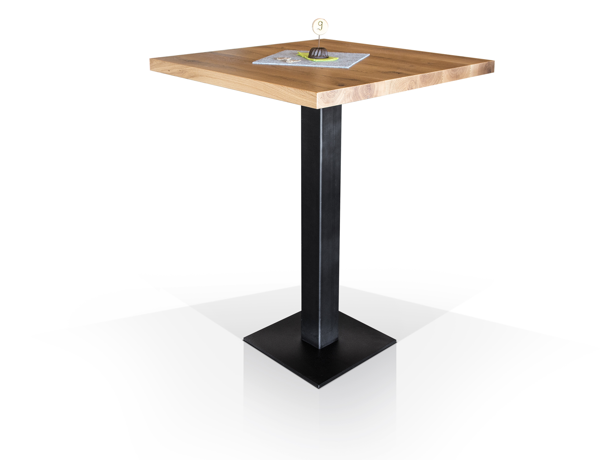 gastro bartisch eiche lackiert 90 x 90 cm. Black Bedroom Furniture Sets. Home Design Ideas