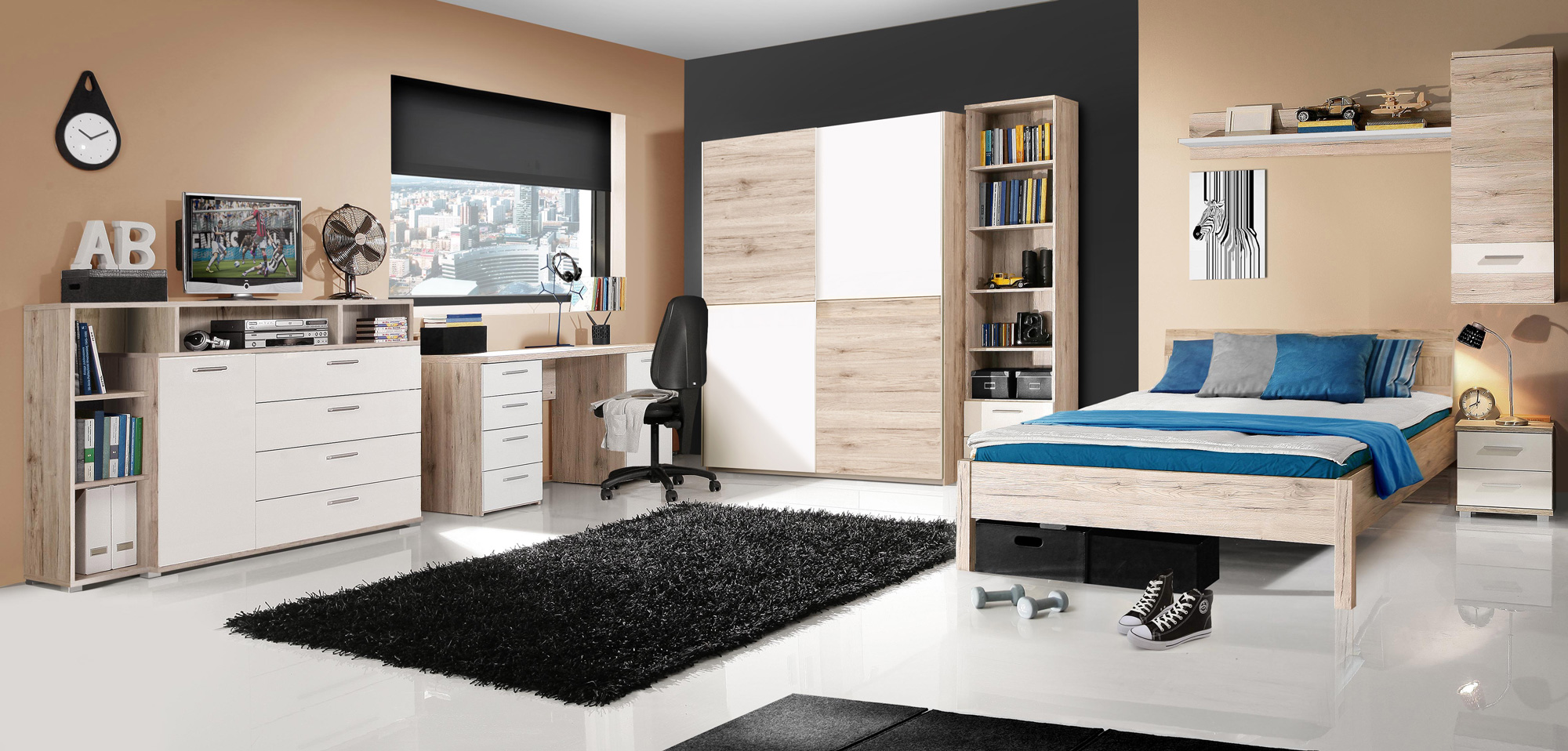 beat jugendzimmer sandeiche weiss. Black Bedroom Furniture Sets. Home Design Ideas