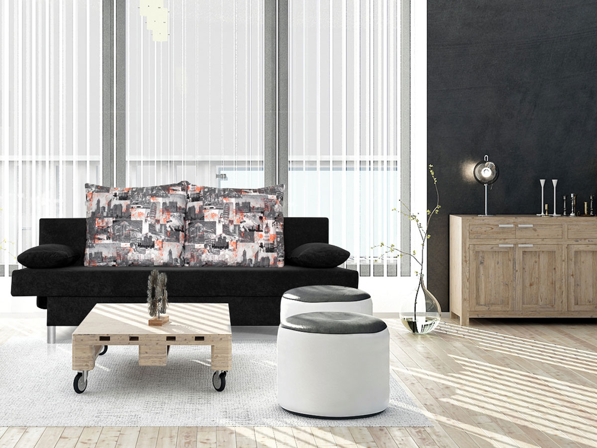berlin schlafsofa schwarz kissen newspaper. Black Bedroom Furniture Sets. Home Design Ideas