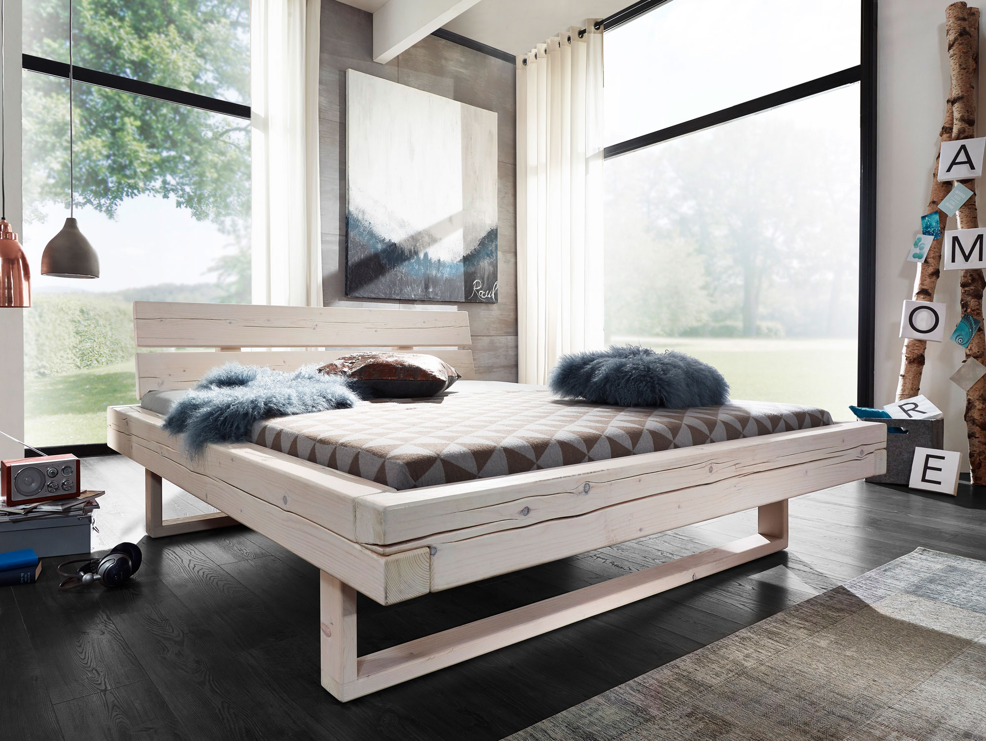 rocky massivholzbett fichte weiss lasiert 160 x 200 cm. Black Bedroom Furniture Sets. Home Design Ideas