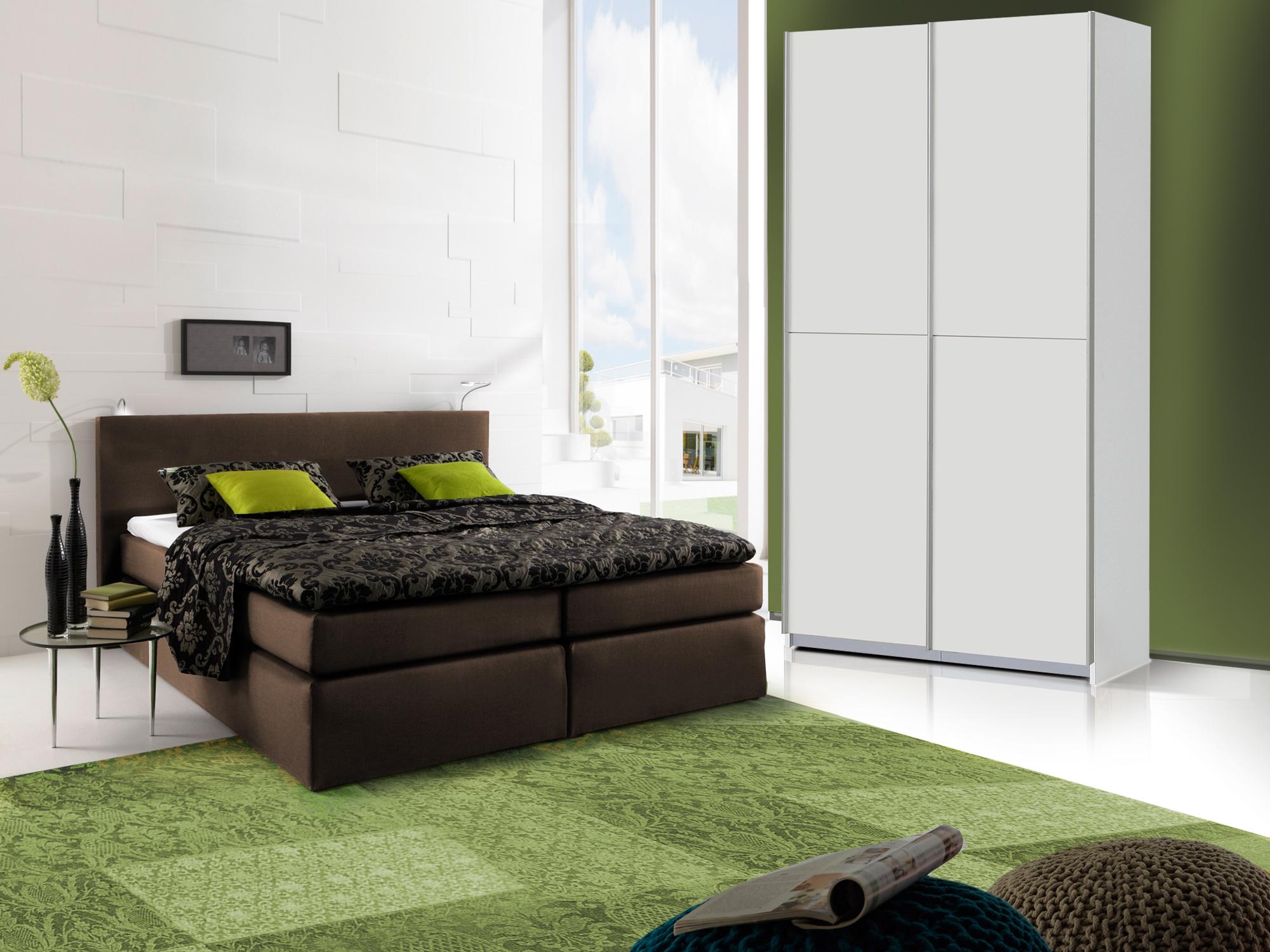 ORENO Schlafzimmerset - Schrank und Boxspringbett braun | 140x200 cm ...
