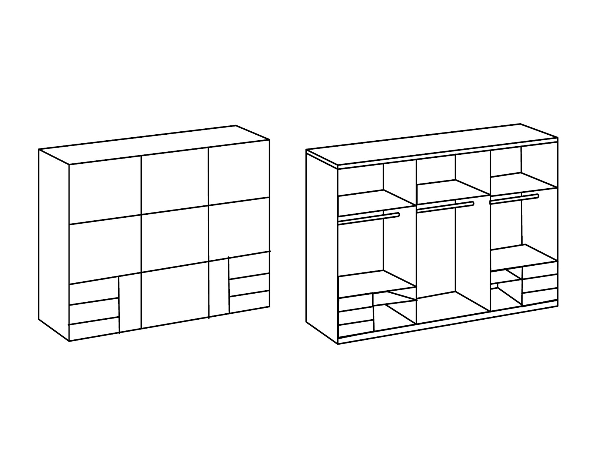 lakota schwebet renschrank weiss plankeneiche 300 cm. Black Bedroom Furniture Sets. Home Design Ideas