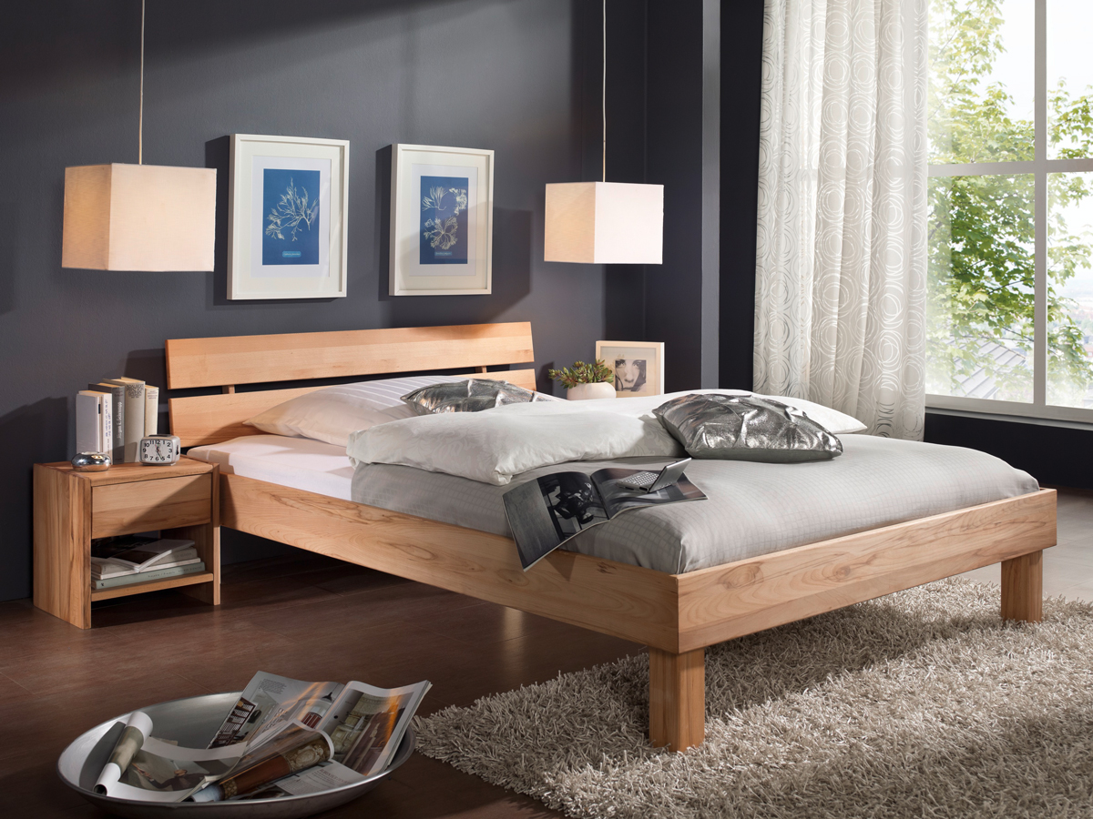 massivholzbett 140x200 bett jugendbett holzbett kernbuche buche massiv caria ebay. Black Bedroom Furniture Sets. Home Design Ideas