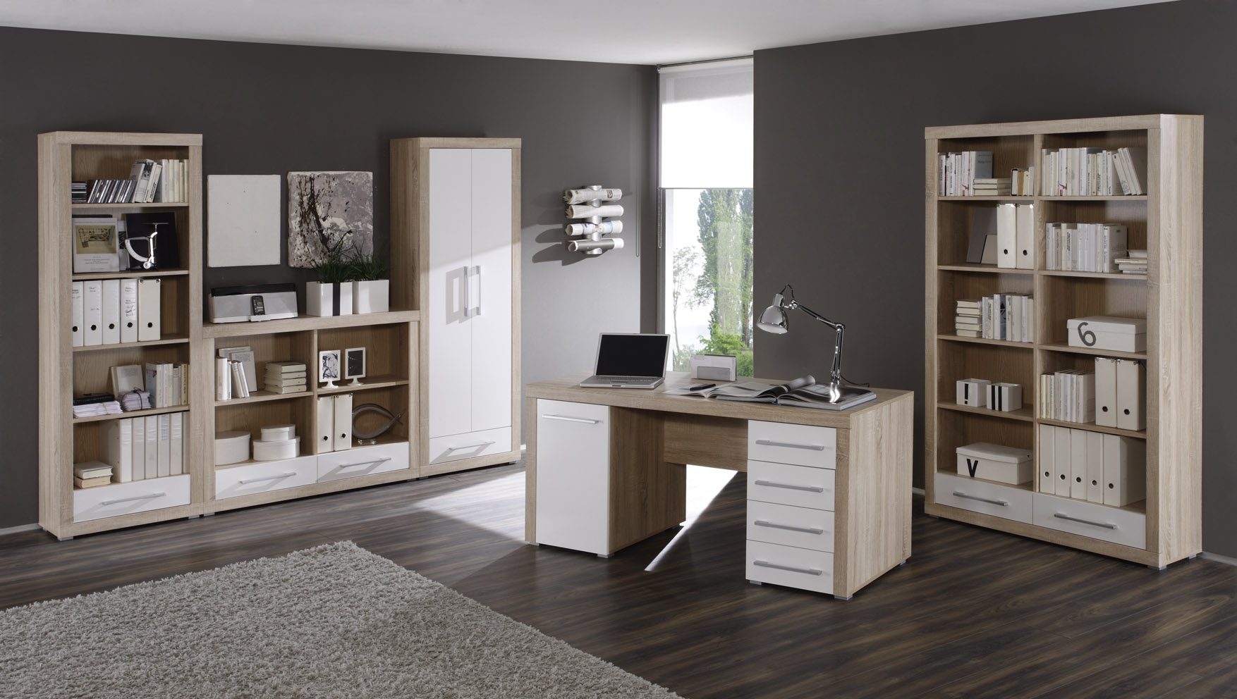 charlie aktenschrank 2 t rig sonoma eiche weiss. Black Bedroom Furniture Sets. Home Design Ideas