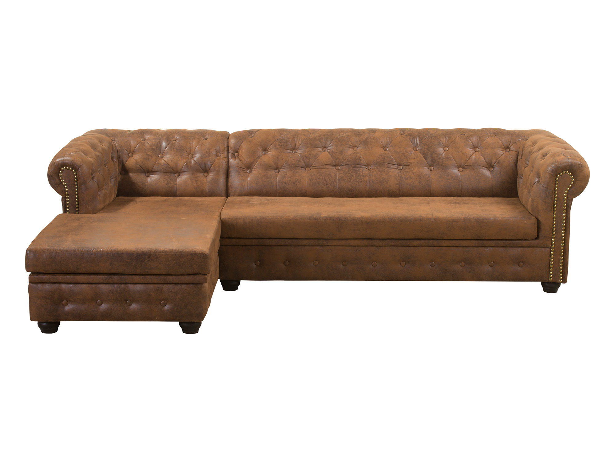 Chesterfield ecksofa mit ottomane gobi braun links for Ecksofa ottomane