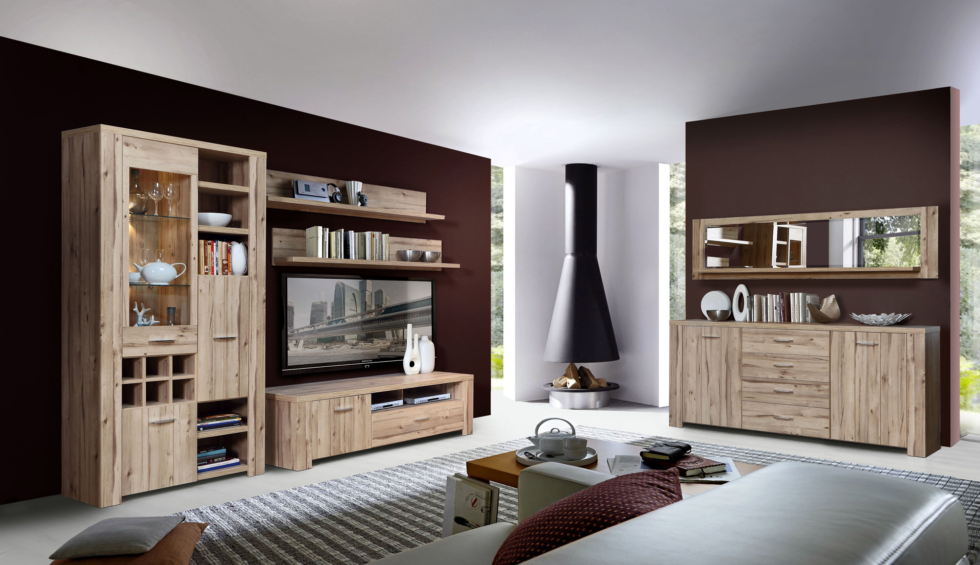 cuba wandregal mit spiegel planked eiche. Black Bedroom Furniture Sets. Home Design Ideas
