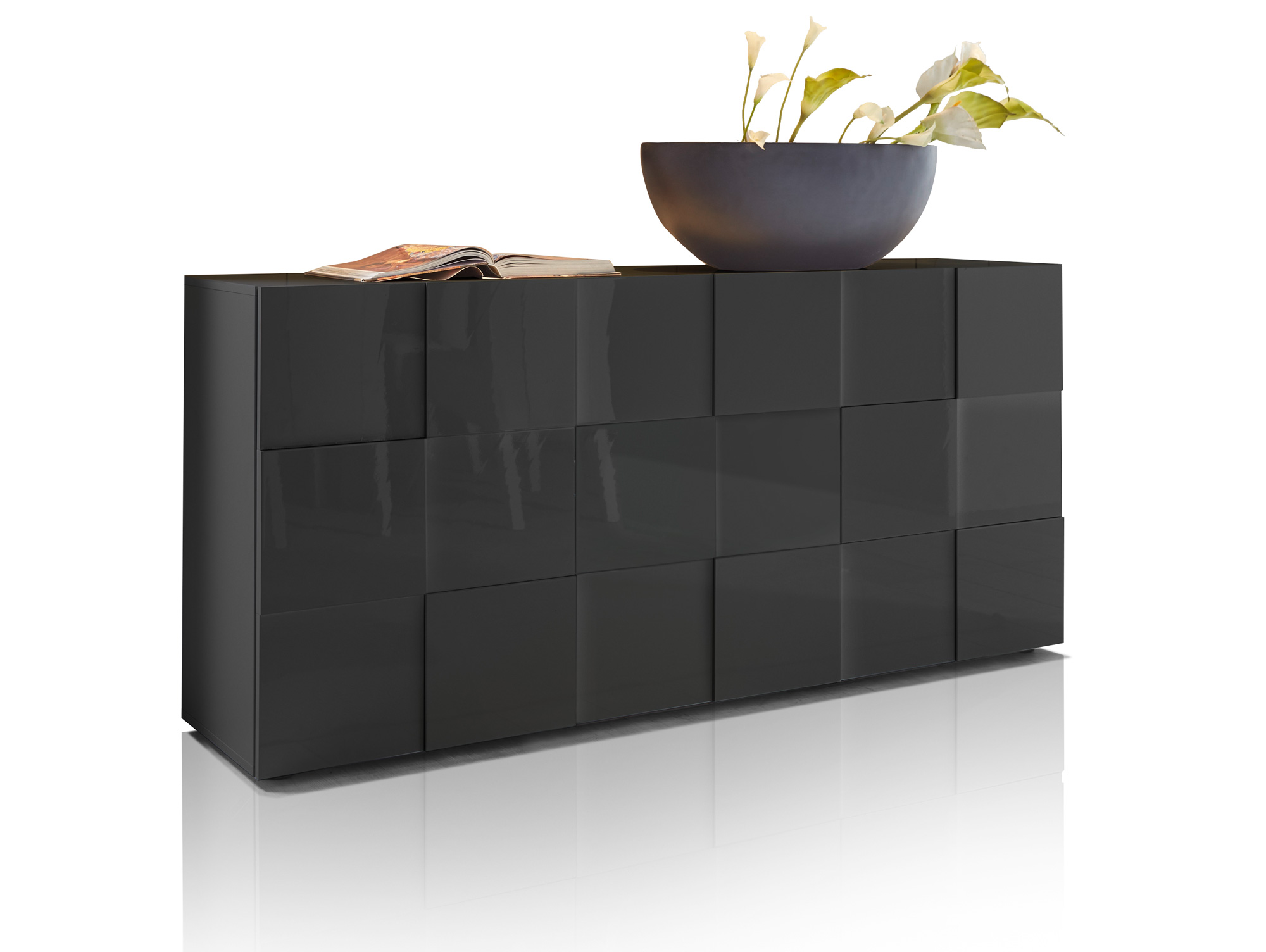 damiro sideboard mit 3 t ren anthrazit. Black Bedroom Furniture Sets. Home Design Ideas