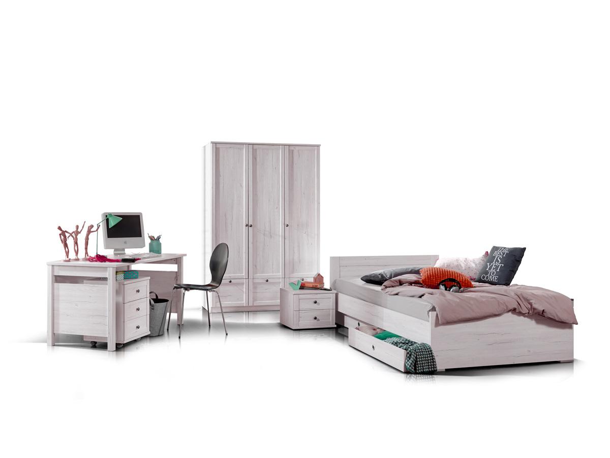 fee jugendbett einzelbett 90x200 cm wei eiche. Black Bedroom Furniture Sets. Home Design Ideas