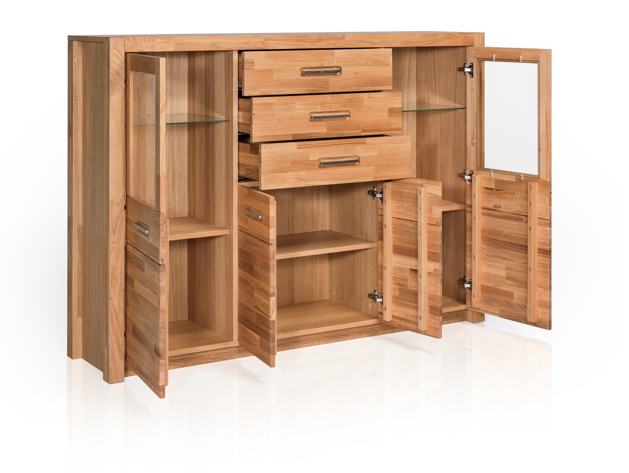 fanja highboard massivholz wildeiche. Black Bedroom Furniture Sets. Home Design Ideas