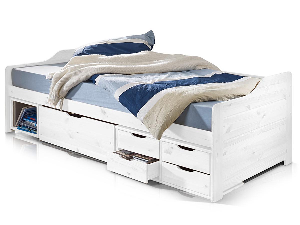 finca jugendbett 90x200 cm massivholzbett kiefer weiss gewachst. Black Bedroom Furniture Sets. Home Design Ideas