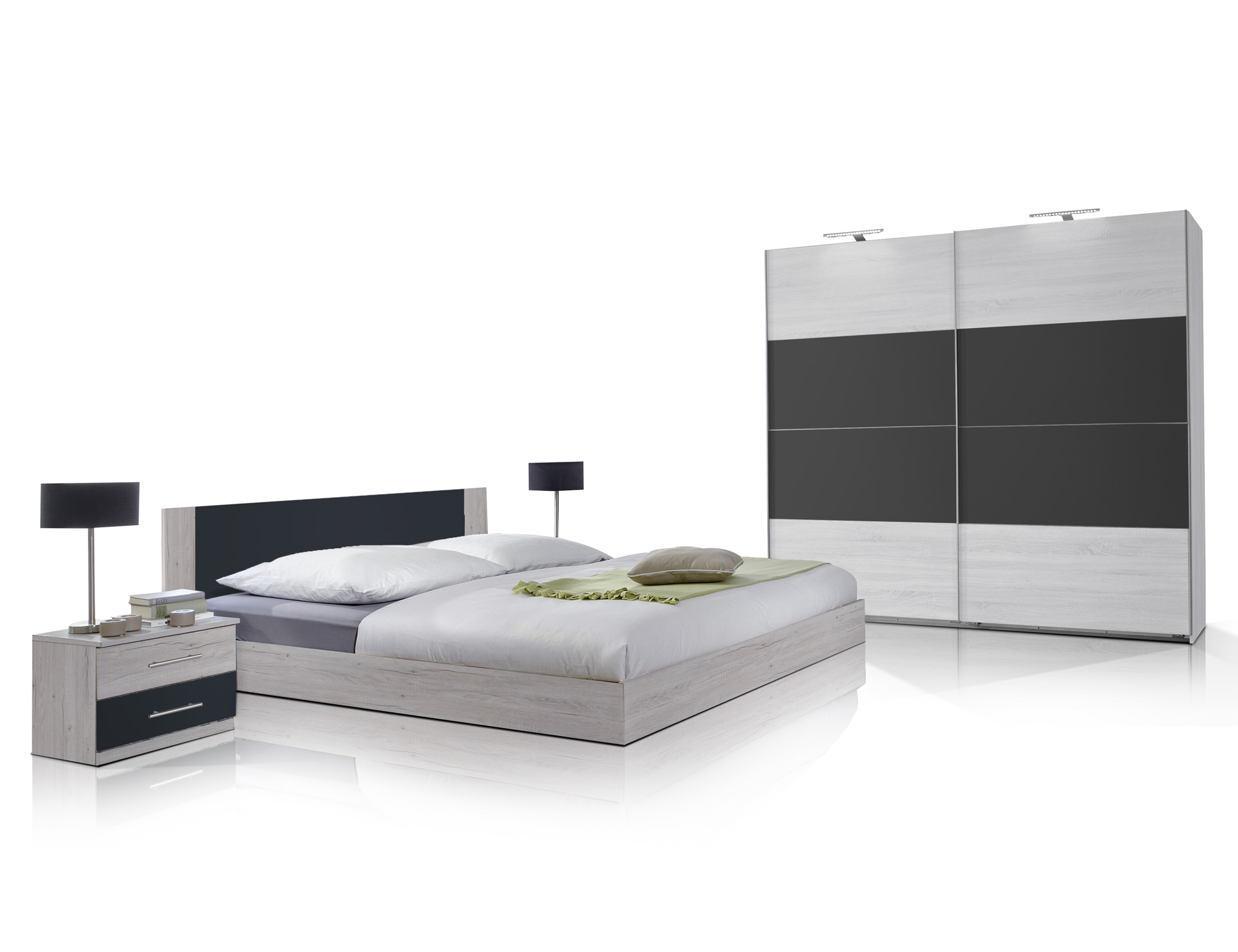flores ii komplett schlafzimmer 180 x 200 cm wei eiche. Black Bedroom Furniture Sets. Home Design Ideas