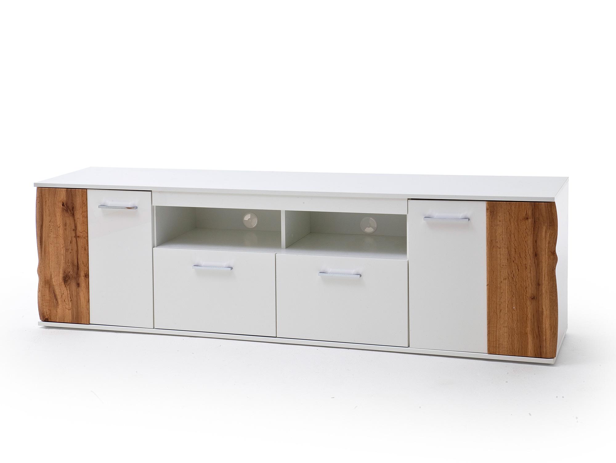 grazia tv lowboard weiss hochglanz wotan eiche dekor. Black Bedroom Furniture Sets. Home Design Ideas