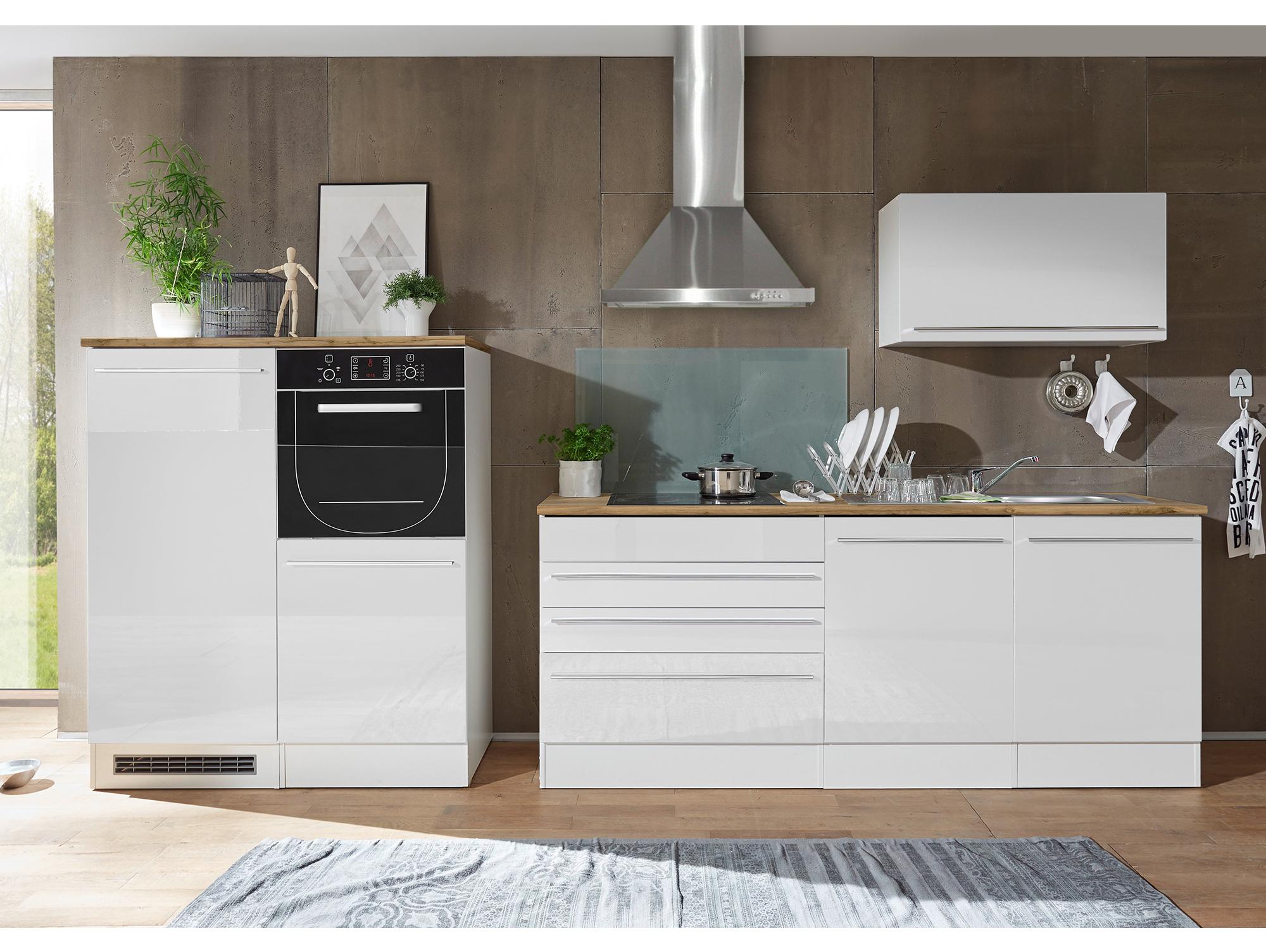 JASON Küche Weiß Hochglanz/Weiß matt/Wildeiche