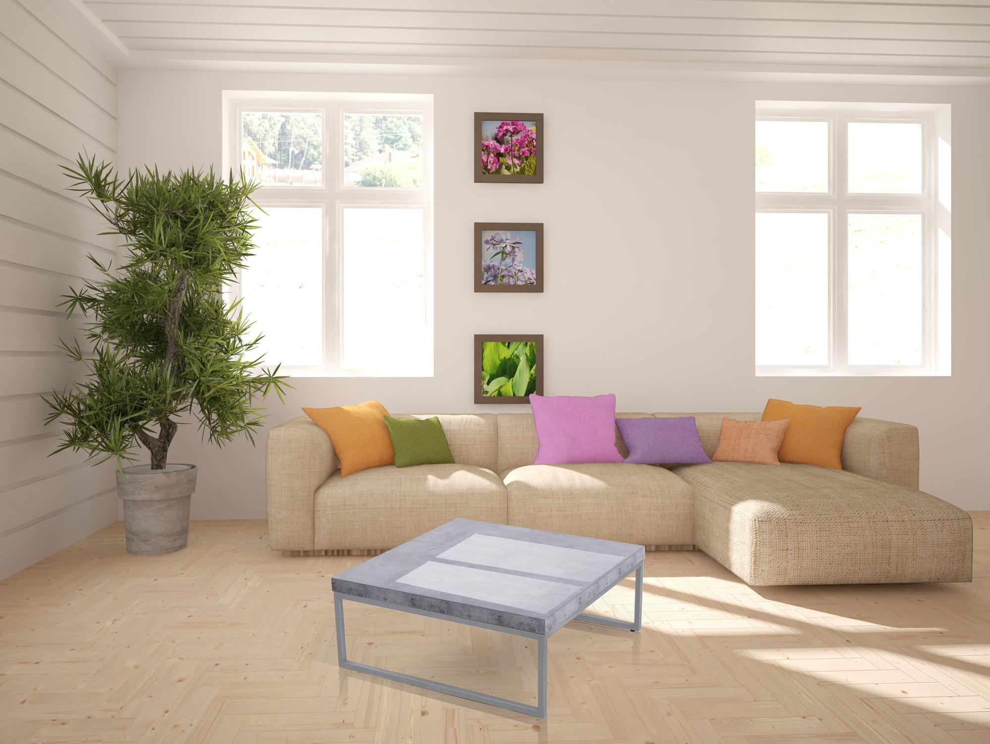 JONATHAN Couchtisch Beton Optik 80 x 80 cm