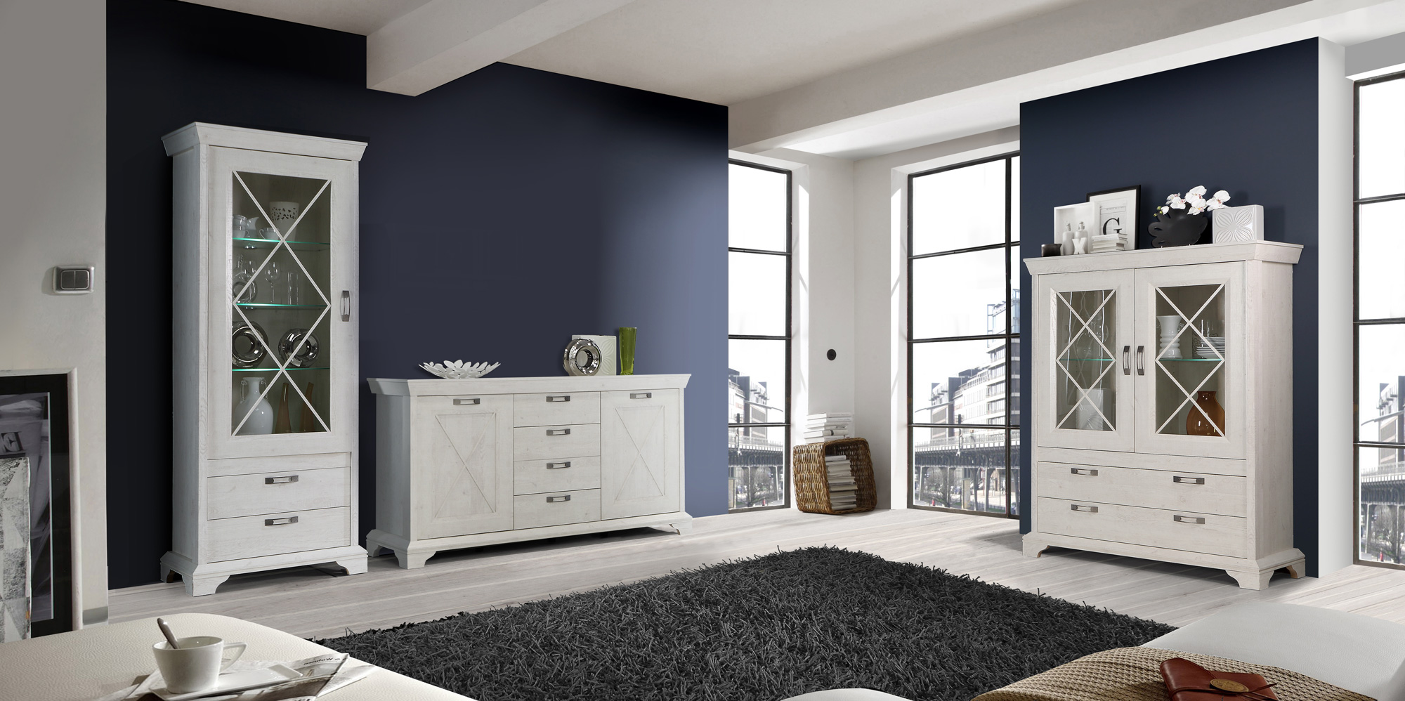 kada stauraumvitrine pinie weiss. Black Bedroom Furniture Sets. Home Design Ideas