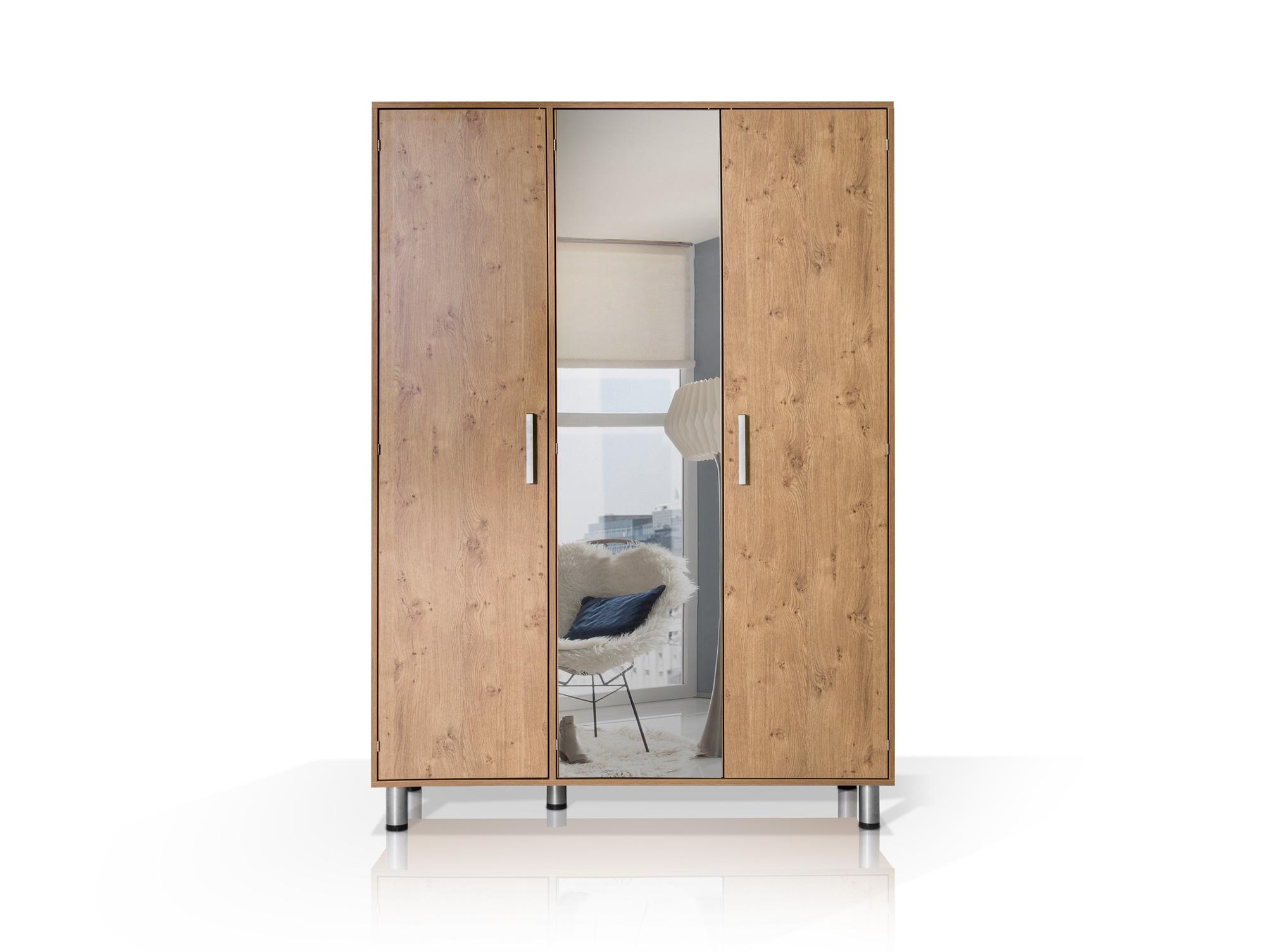 hotel kleiderschrank 3trg wildeiche mit spiegel. Black Bedroom Furniture Sets. Home Design Ideas