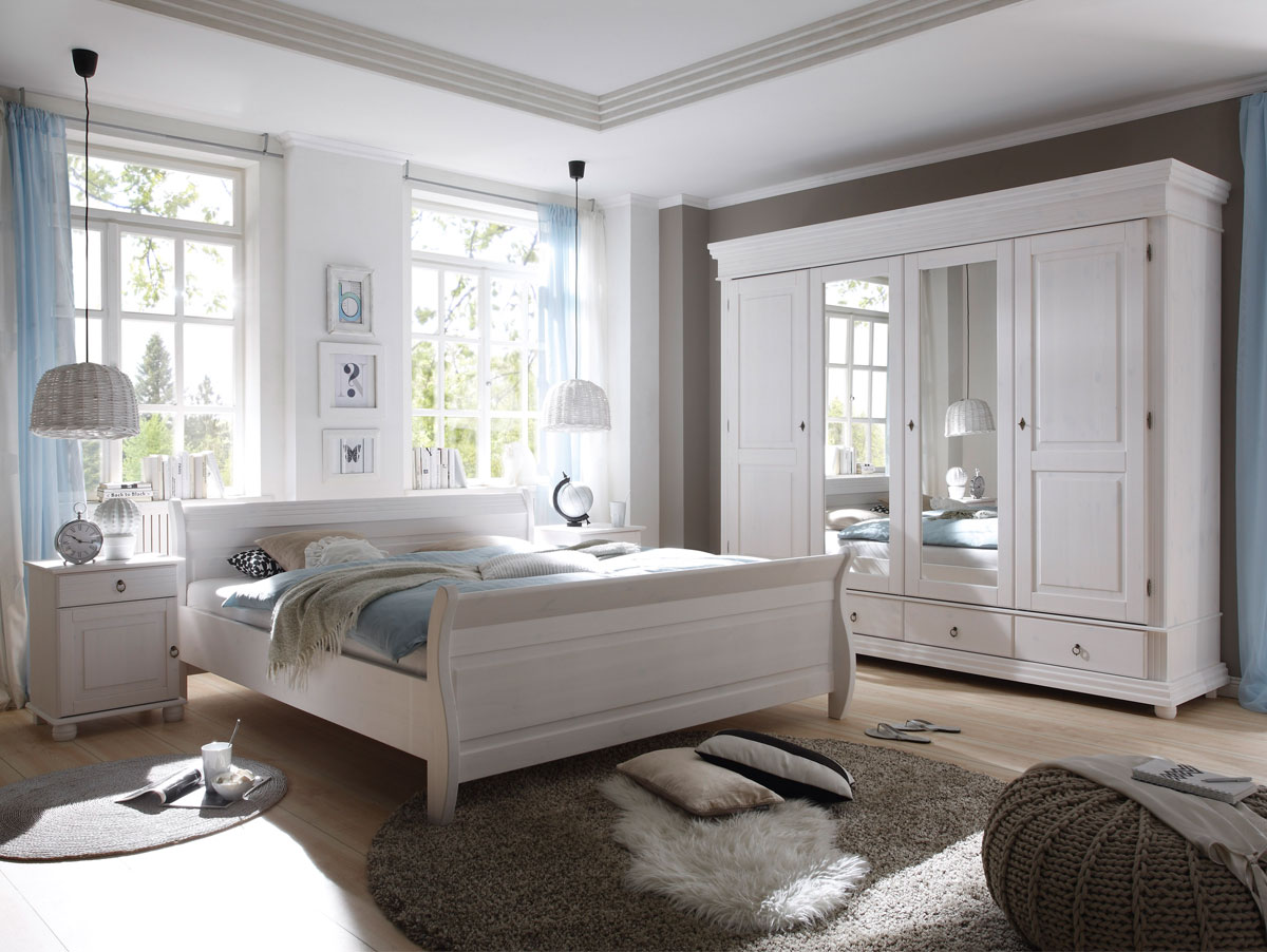 Beautiful Schlafzimmer Komplett Weiß Holz Photos - Erstaunliche ...