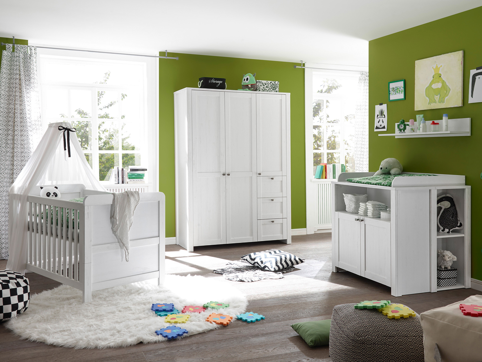 levina komplett babyzimmer material dekorspanplatte weiss piniefarbig. Black Bedroom Furniture Sets. Home Design Ideas