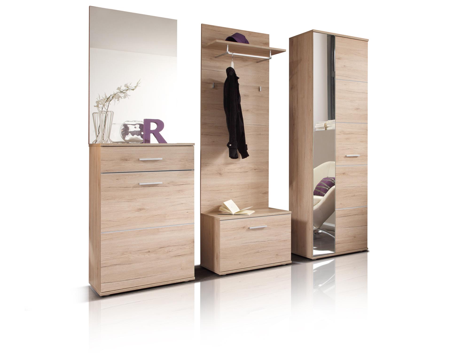 lin garderobe 5 teilig dekor eiche san remo hell. Black Bedroom Furniture Sets. Home Design Ideas