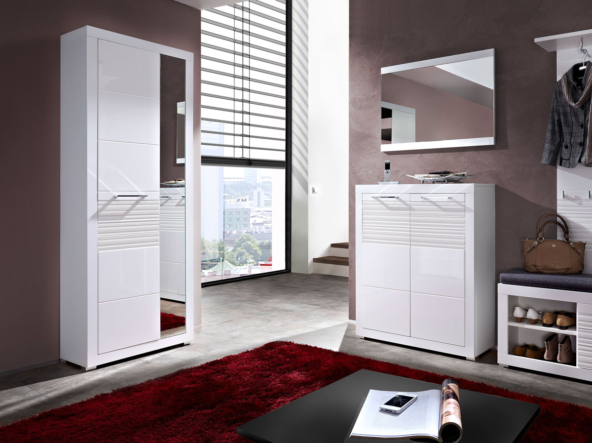 live garderobenschrank wei wei mdf riffel. Black Bedroom Furniture Sets. Home Design Ideas