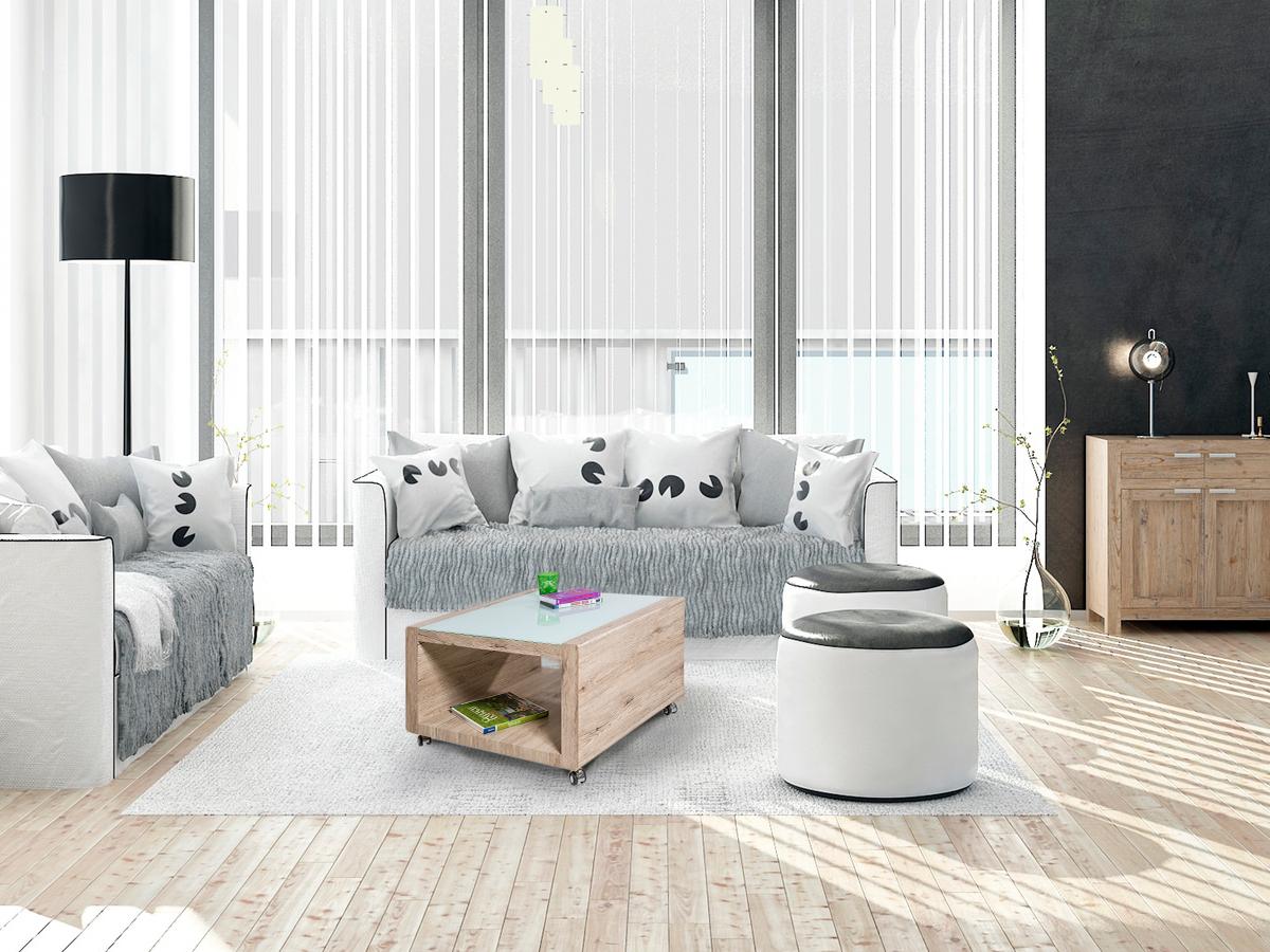 lugano couchtisch dekor eiche san remo glas satiniert. Black Bedroom Furniture Sets. Home Design Ideas