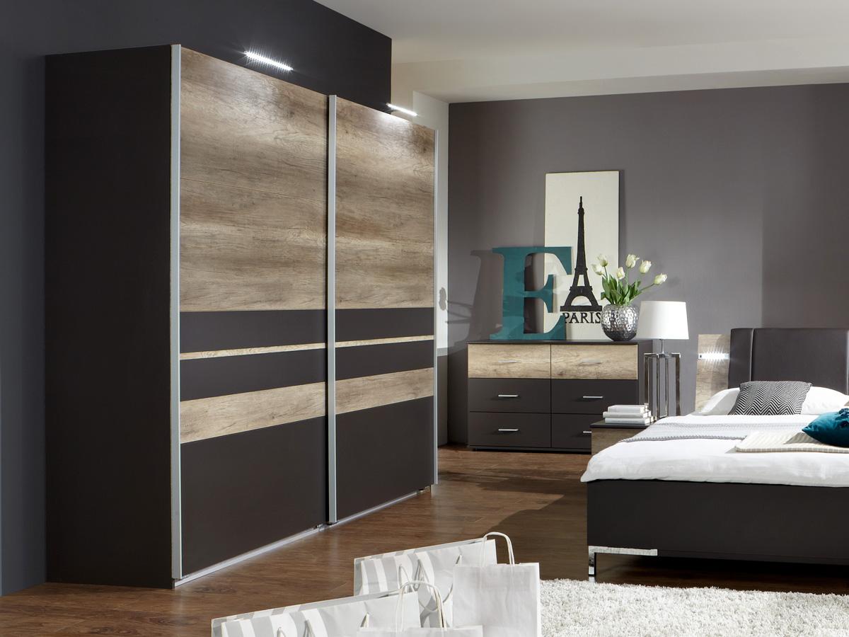 munich schwebet renschrank 225 cm lavagrau wildeiche. Black Bedroom Furniture Sets. Home Design Ideas