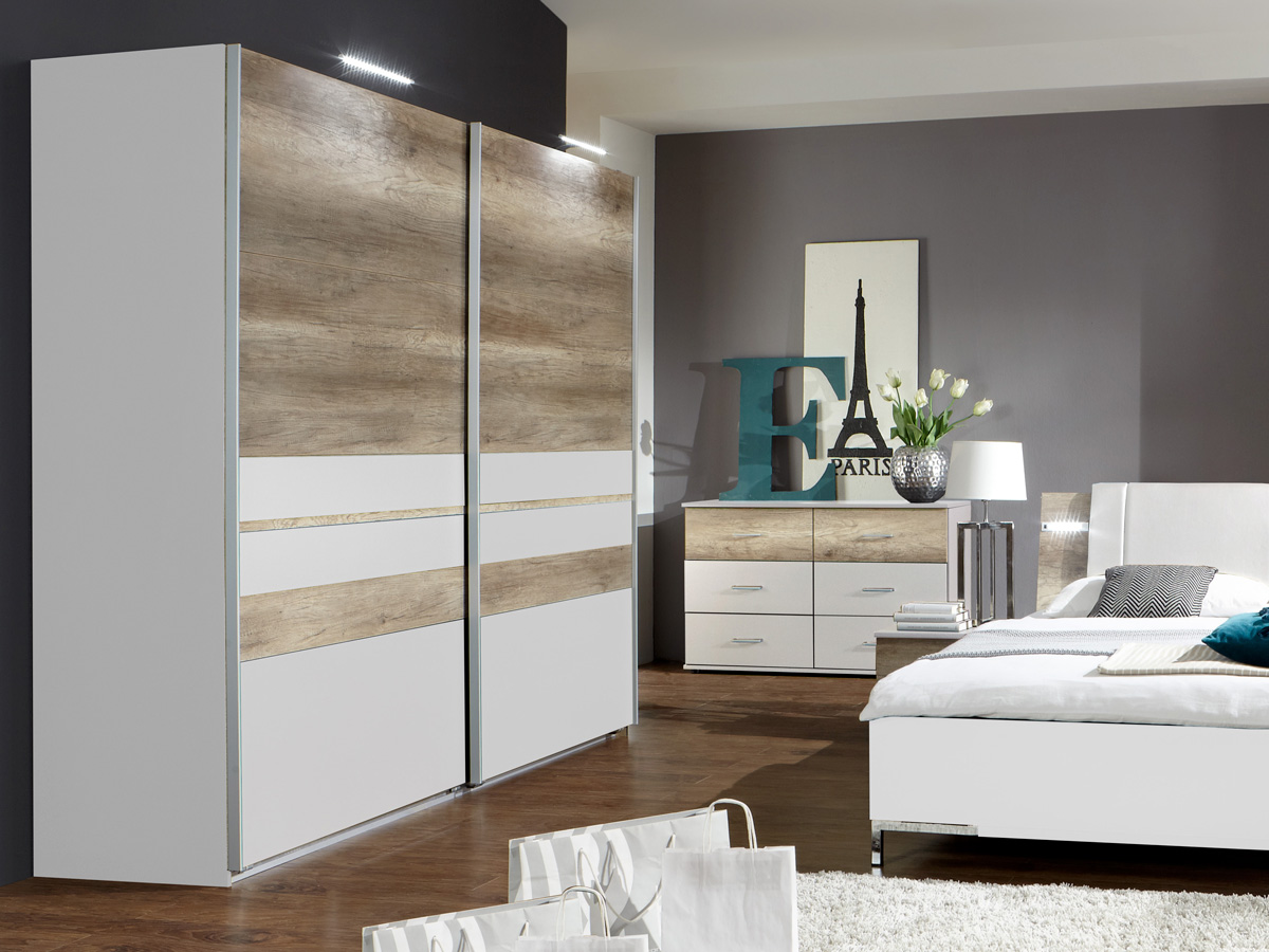 munich schwebet renschrank 225 cm weiss wildeiche. Black Bedroom Furniture Sets. Home Design Ideas