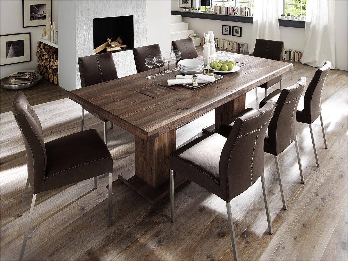malik massivholz s ulentisch eiche 180x90 cm verwittert. Black Bedroom Furniture Sets. Home Design Ideas