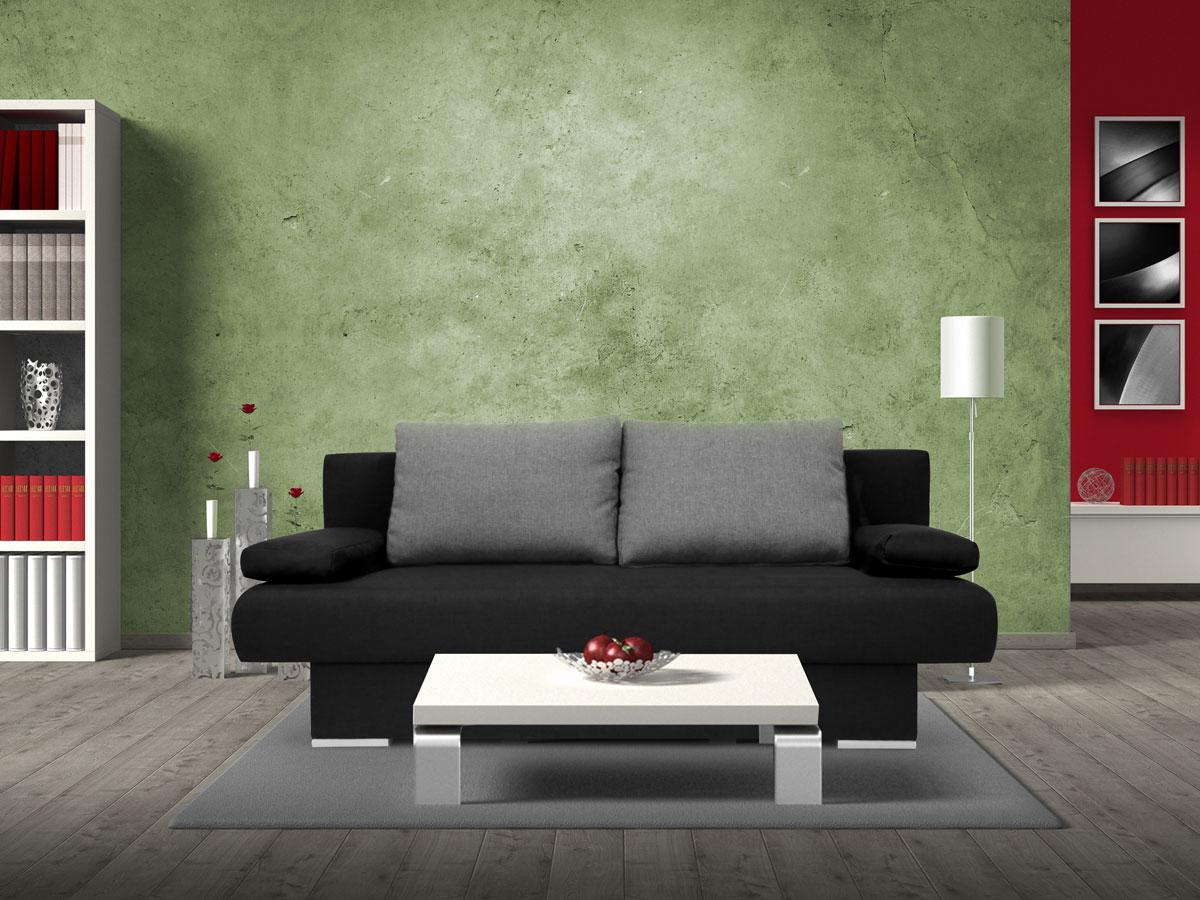 mike schlafsofa schlafcouch schwarz kissen anthrazit. Black Bedroom Furniture Sets. Home Design Ideas