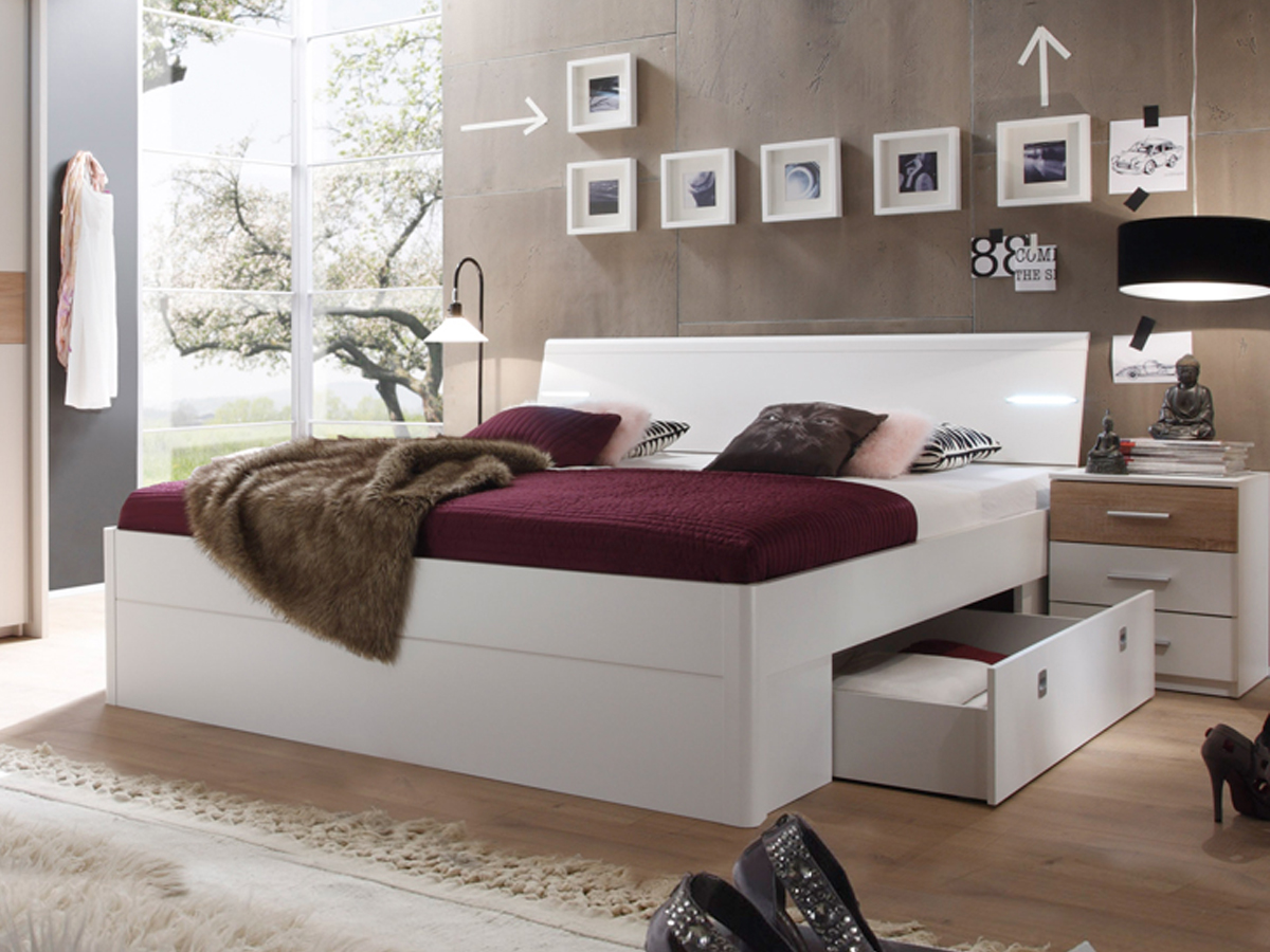 milena komplett schlafzimmer wei eiche sonoma. Black Bedroom Furniture Sets. Home Design Ideas