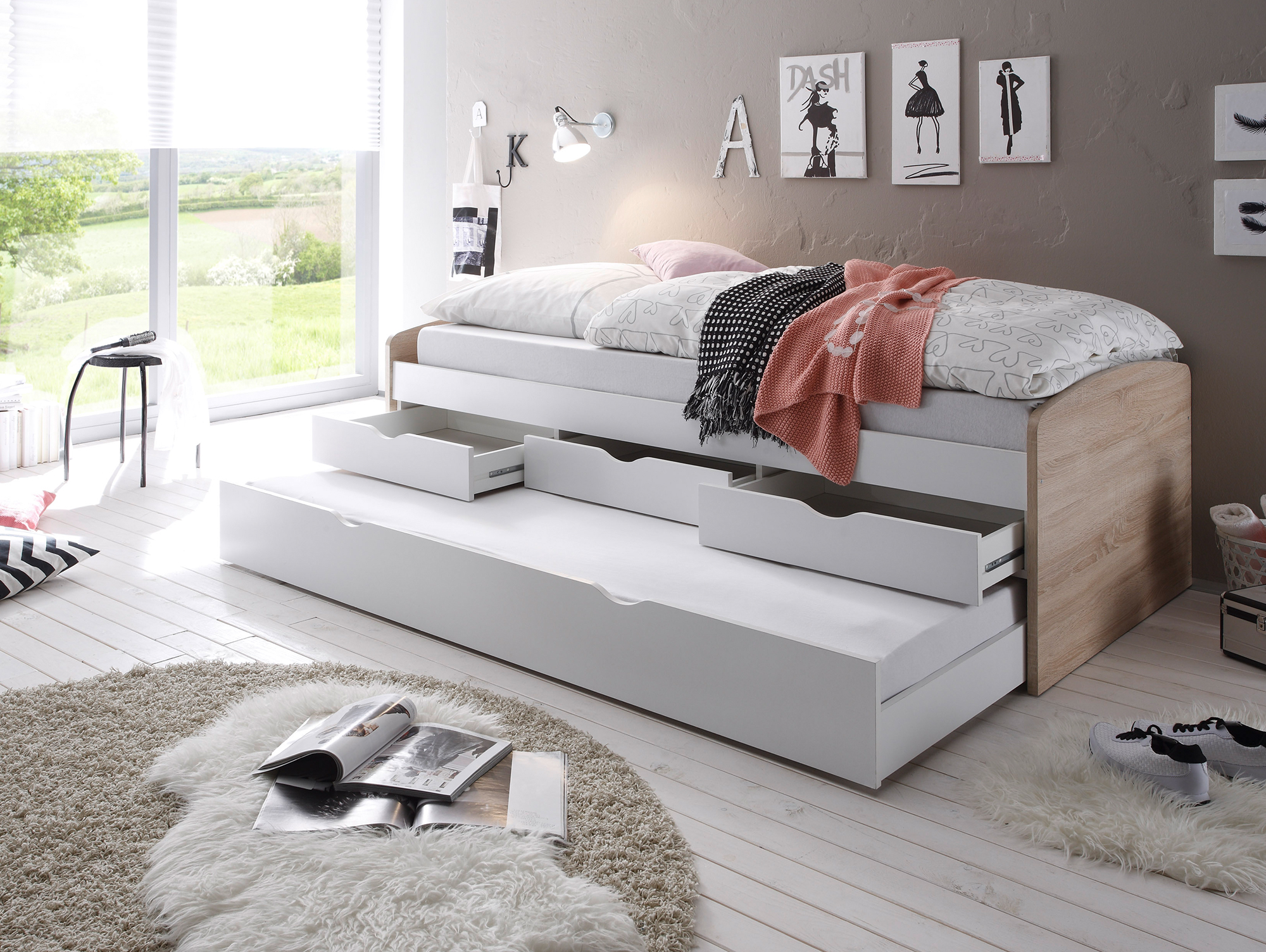 nadja tandemliege jugendbett 90x200 cm eiche sonoma. Black Bedroom Furniture Sets. Home Design Ideas