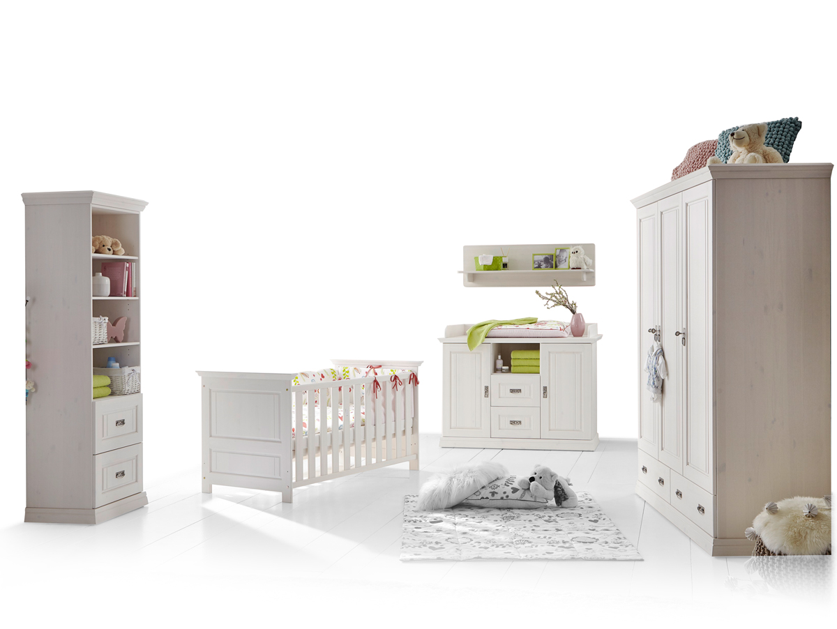 5 teiliges babyzimmer komplett set kinderzimmer massivholz kiefer wei odette ebay. Black Bedroom Furniture Sets. Home Design Ideas
