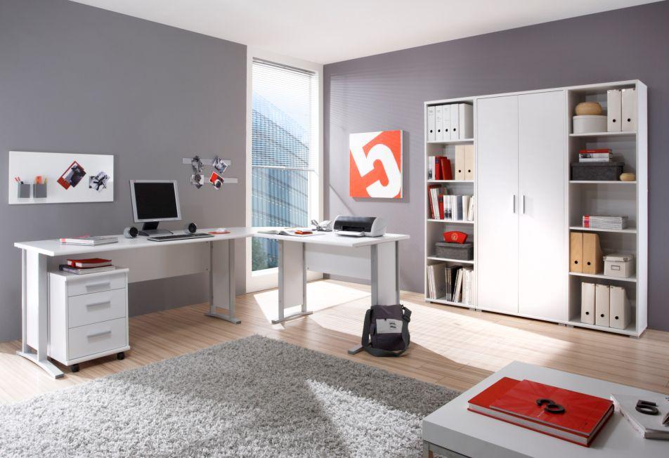 Office Line Winkelkombination Material Dekorspanplatte Weiss