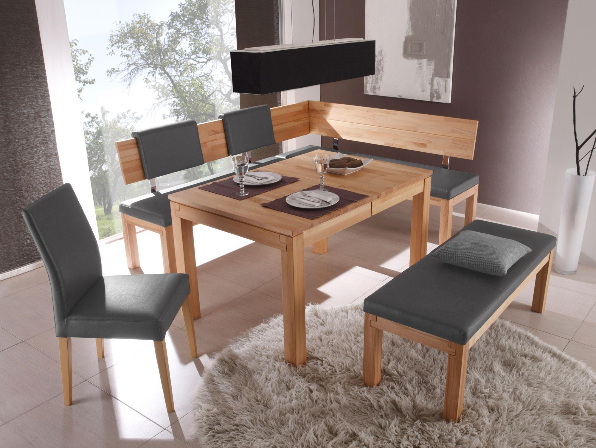 salima sitzbank mit r cken massivholz 130 cm kernbuche lackiert grau. Black Bedroom Furniture Sets. Home Design Ideas