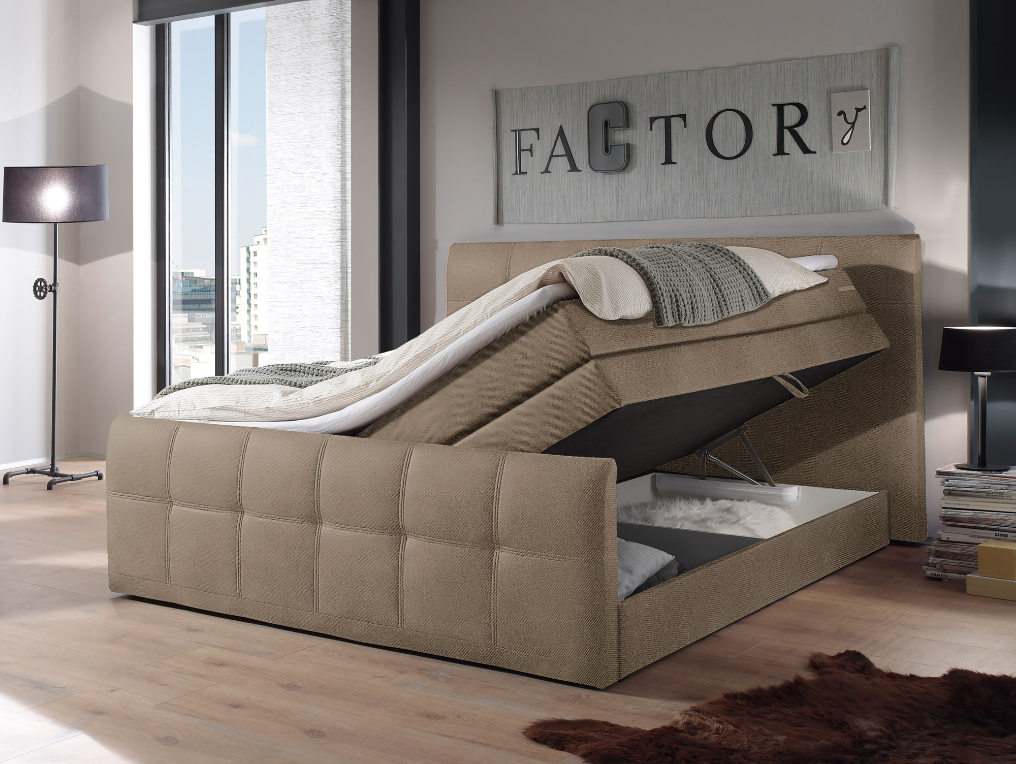 samara boxspringbett integrierter bettkasten 180x200 cm sand. Black Bedroom Furniture Sets. Home Design Ideas