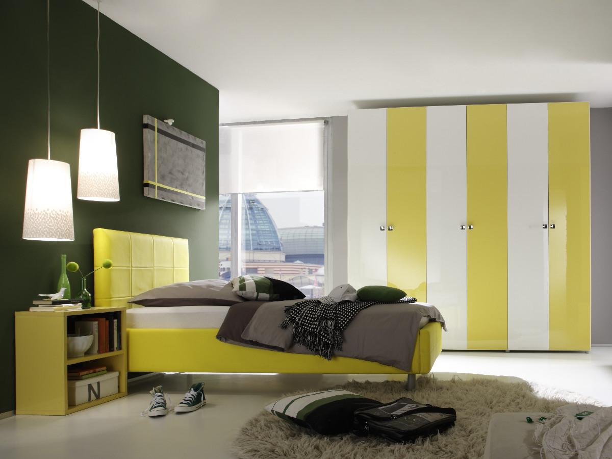 satina polsterbett lederbett 160 x 200 cm gelb. Black Bedroom Furniture Sets. Home Design Ideas