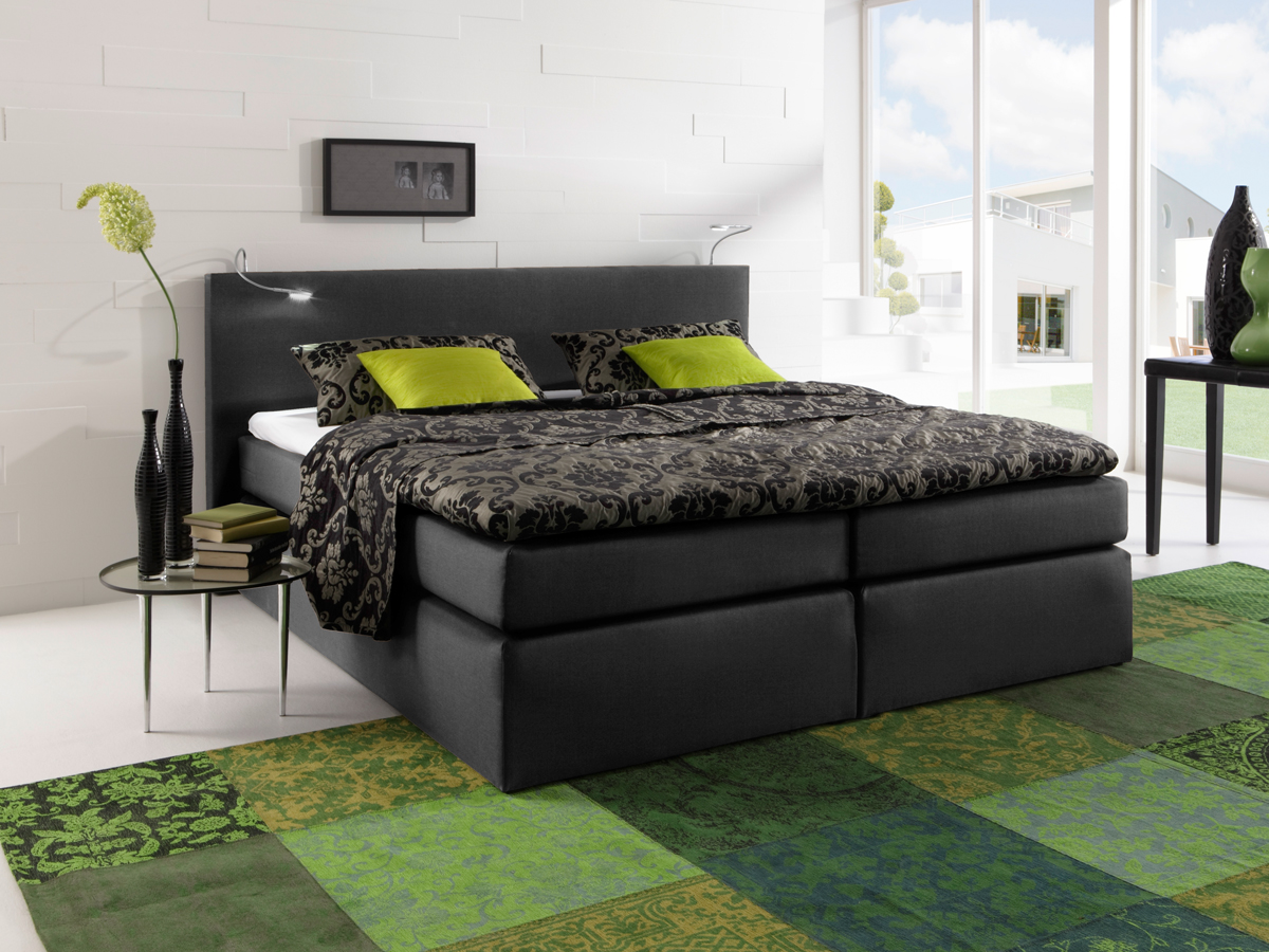 savanna boxspringbett doppelbett h rtegrad 2 180 x 200 cm schwarz. Black Bedroom Furniture Sets. Home Design Ideas